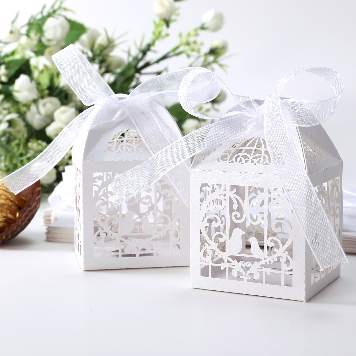 Wedding Gifts Boxes: 25PCS Wedding Laser Cut Favor Boxes Hollow Cut Love Birds