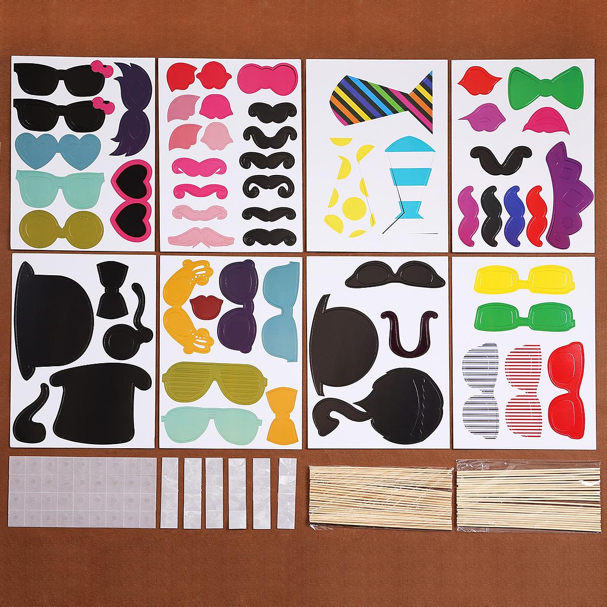 58tlg photo booth props b rte maske karneval party. Black Bedroom Furniture Sets. Home Design Ideas