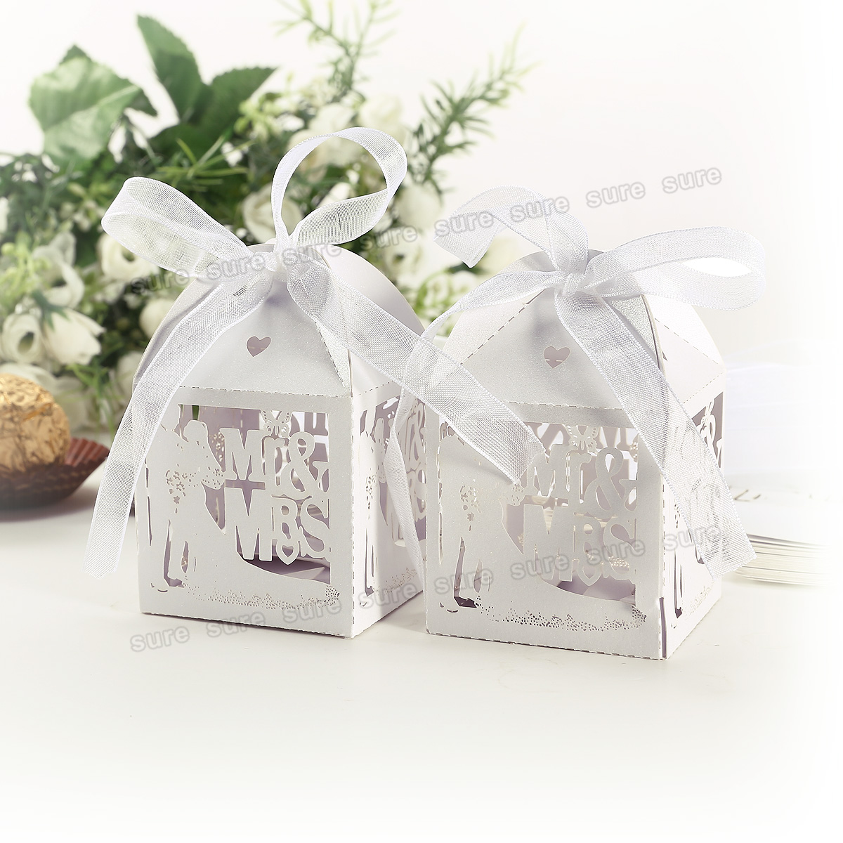 Wedding Party Gifts For Bride And Groom : 25Pcs Groom and Bride Laser Cut Ribbon Candy Gift Boxes Wedding Party ...