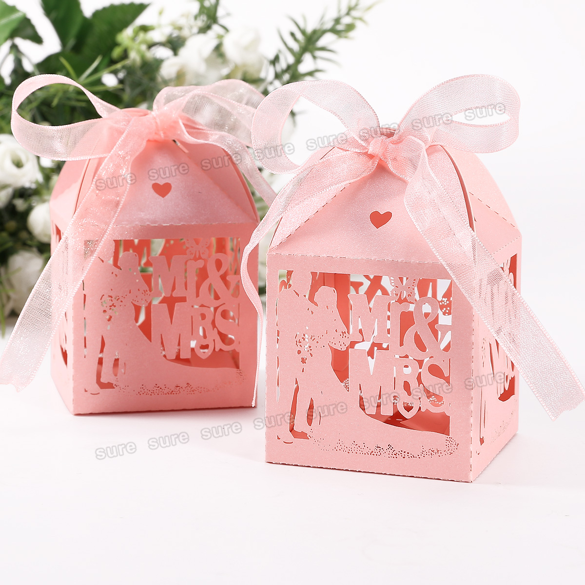 Wedding Party Engagement Specially Favor Boxes Mr&Mrs Laser Cut 4 Gift ...