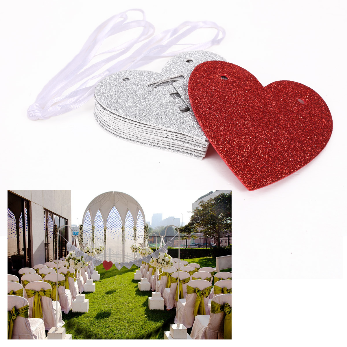 Just married bunting sign wedding decor photo prop ebay for Just married dekoration