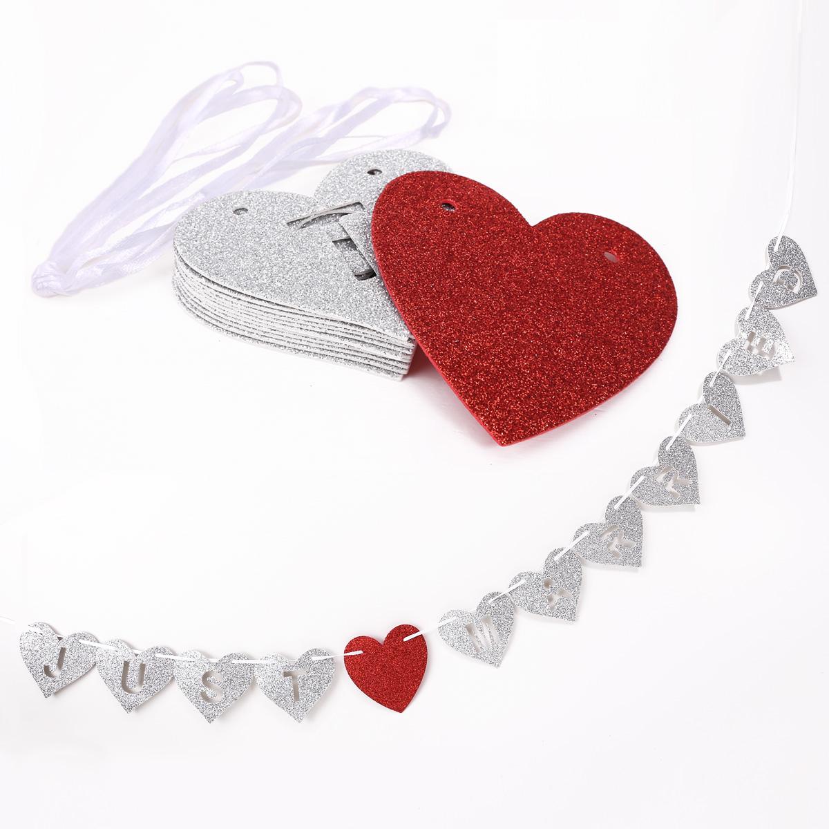 just married argent coeur rouge guirlande bling pour d coration de mariage ebay. Black Bedroom Furniture Sets. Home Design Ideas