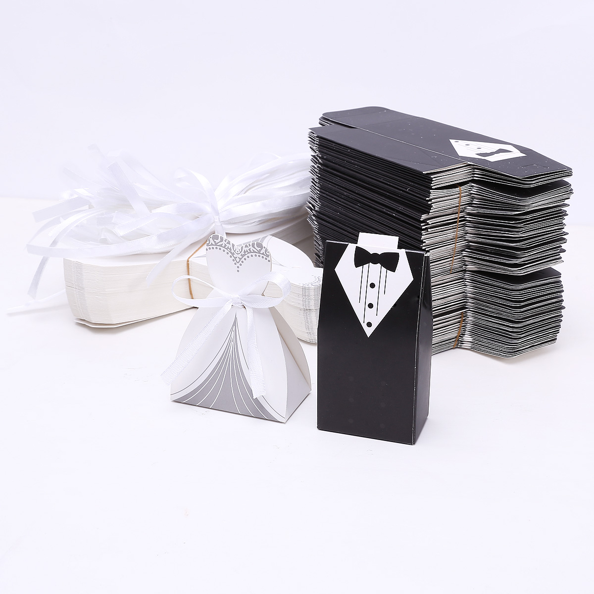 Brides Black Favor Boxes: Pcs wedding candy box bride and groom bag.