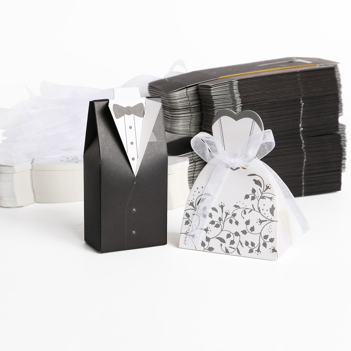 Wedding Bomboniere Cake Candy Favour Boxes Dress & Tuxedo Bride Groom ...