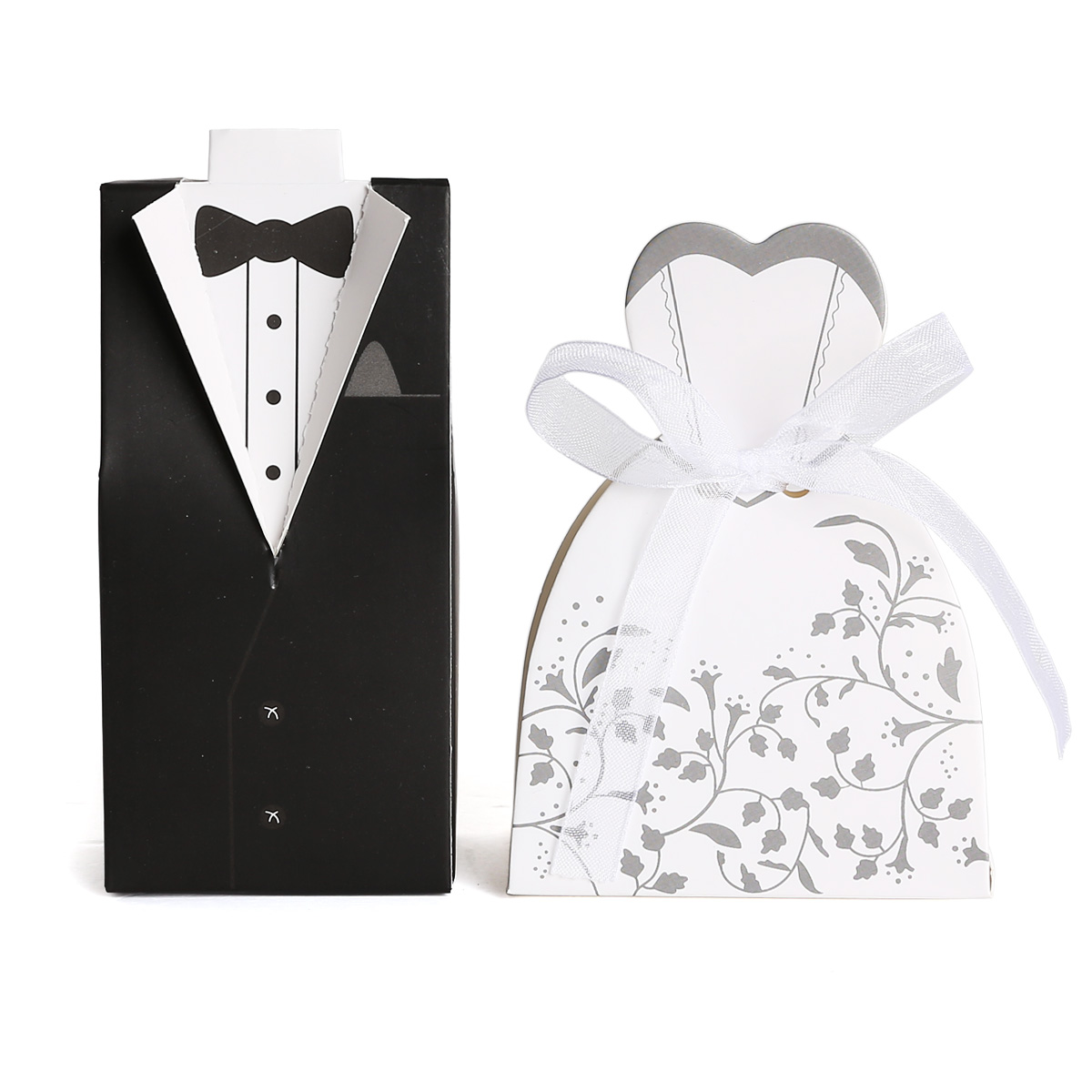 Wedding Gifts For The Bride And Groom Australia : Wedding Bomboniere Cake Candy Favour Boxes Dress & Tuxedo Bride Groom ...
