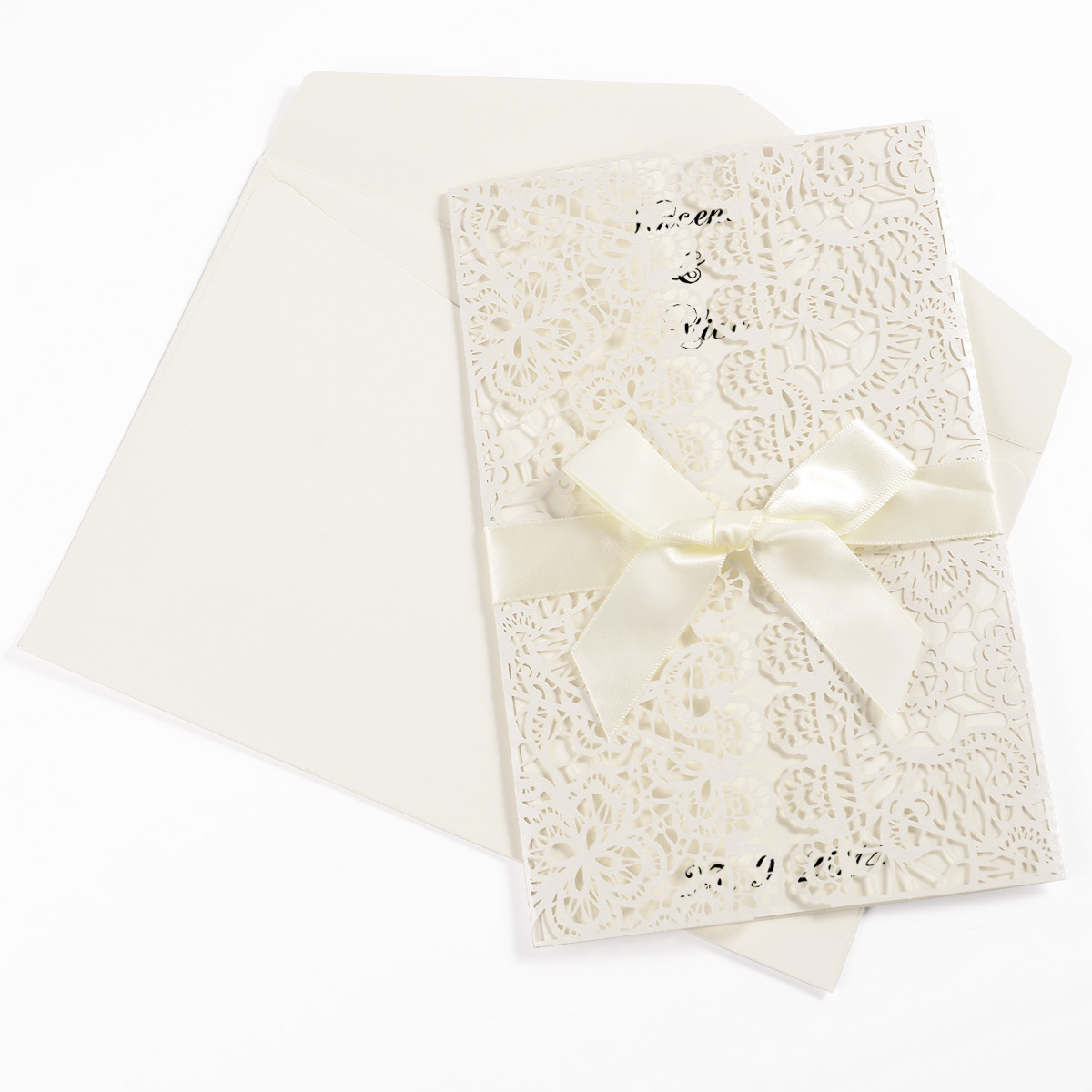 10er einladungskarten elegante blume spitze design. Black Bedroom Furniture Sets. Home Design Ideas