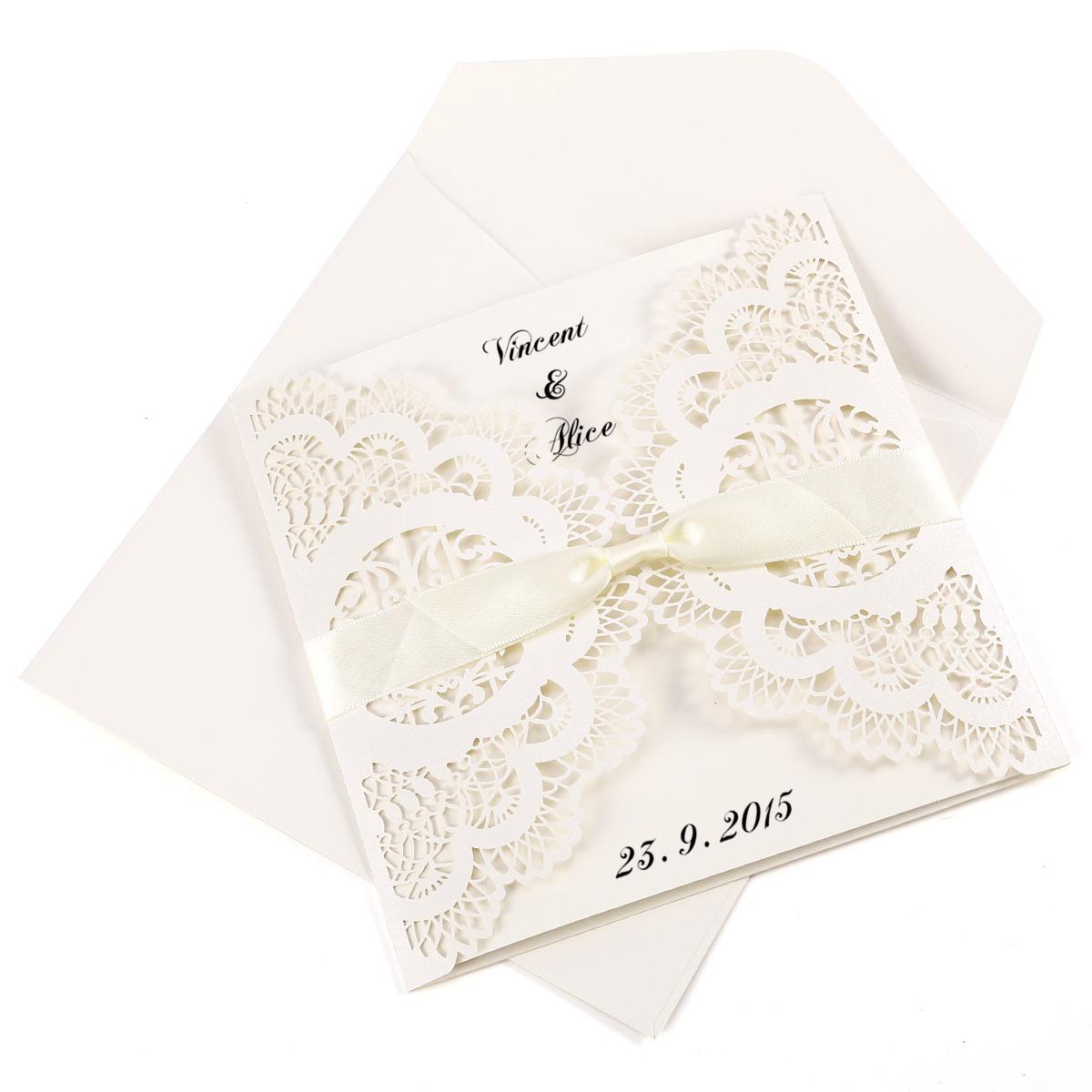 10er einladungskarten elegante vogelk fig spitze schleifen. Black Bedroom Furniture Sets. Home Design Ideas