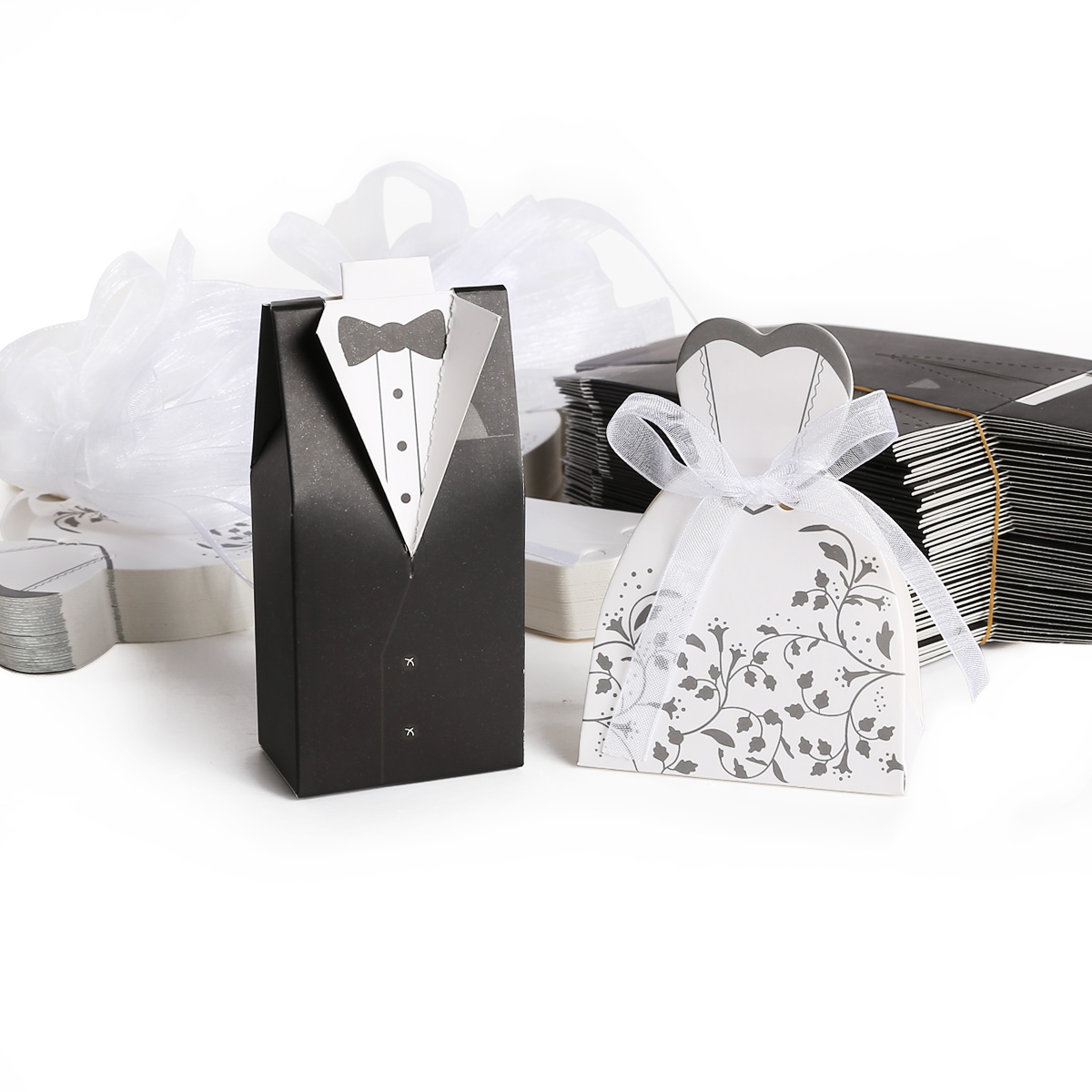 Wedding Gift Baskets For Bride And Groom Australia : 50/100 Pairs Tuxedo Dress Bride and Groom Wedding Cake Candy Favor ...