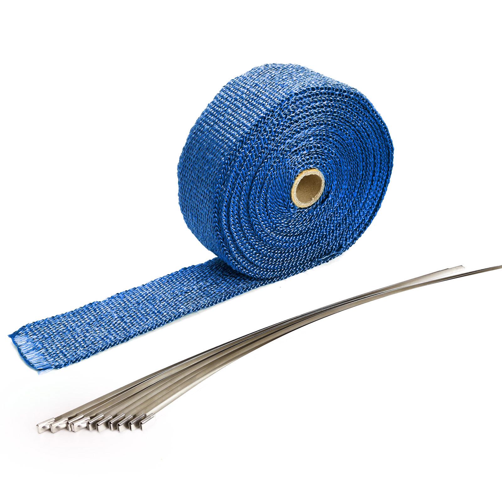 bande thermique tissu isolant collecteur echappement moto fitre verre 10m bleu ebay. Black Bedroom Furniture Sets. Home Design Ideas