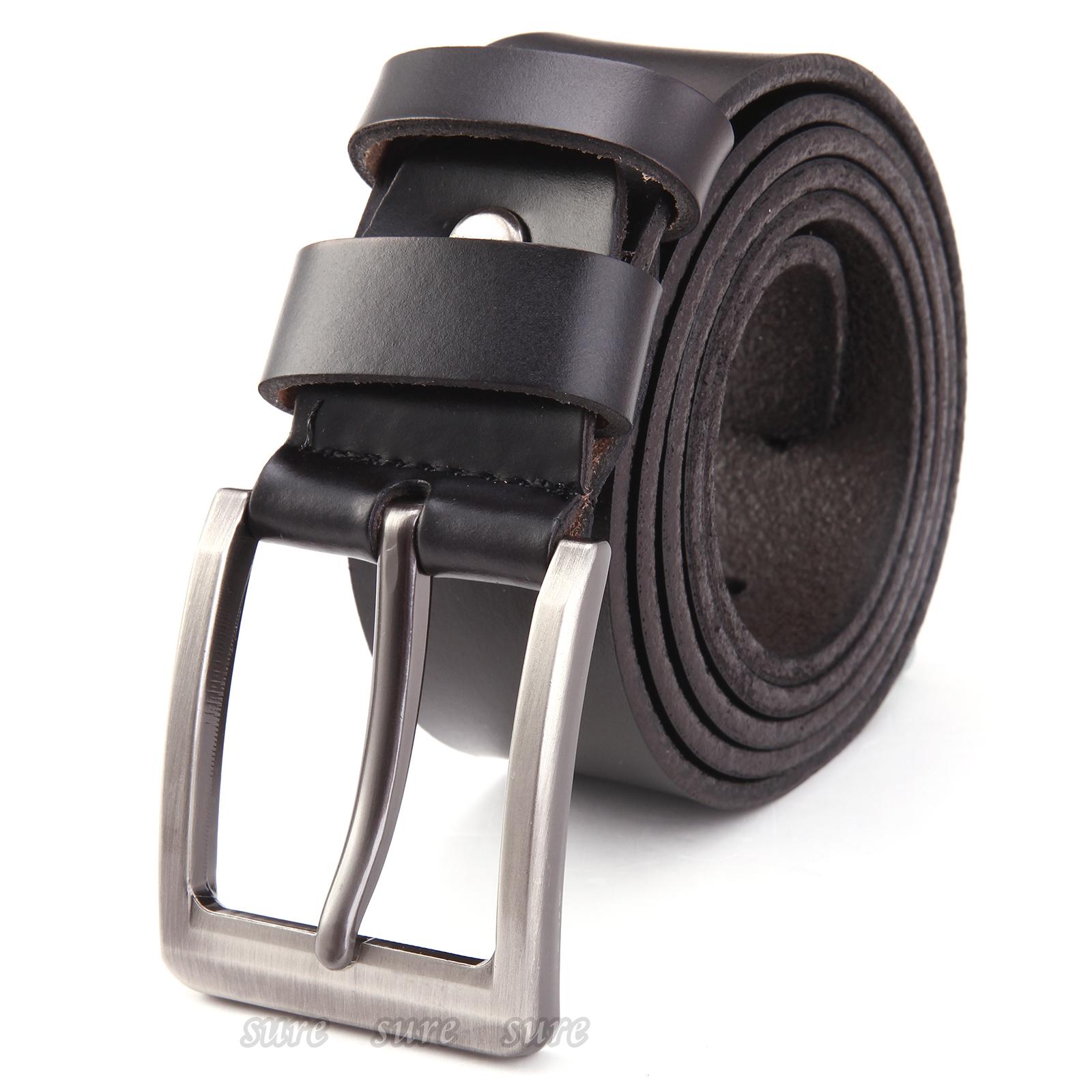 herren echt leder g rtel mann jeans hose shorts lederg rtel schnalle 3 8cm breit ebay. Black Bedroom Furniture Sets. Home Design Ideas
