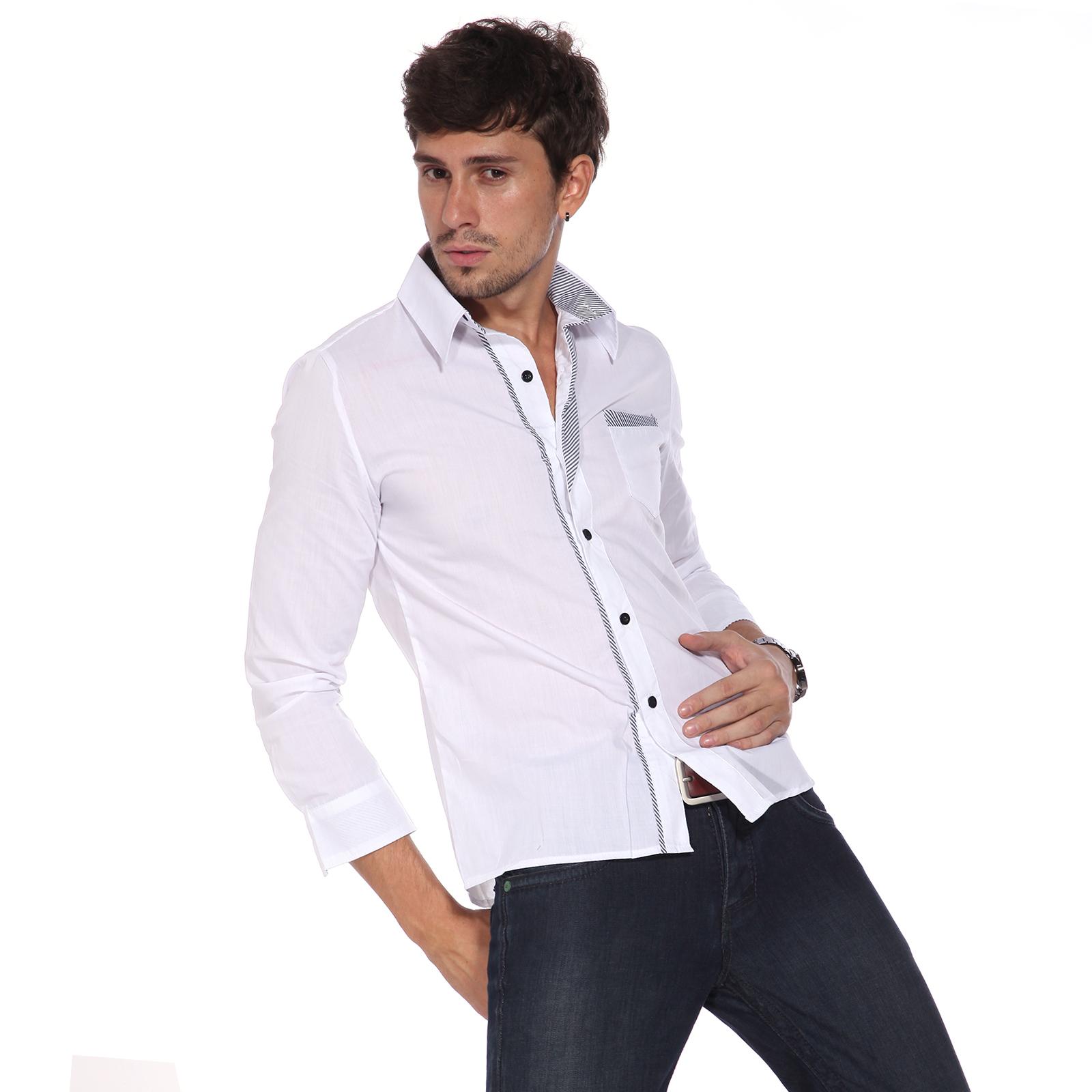 chemise homme slim veste jean costume garcon shirt raye t. Black Bedroom Furniture Sets. Home Design Ideas