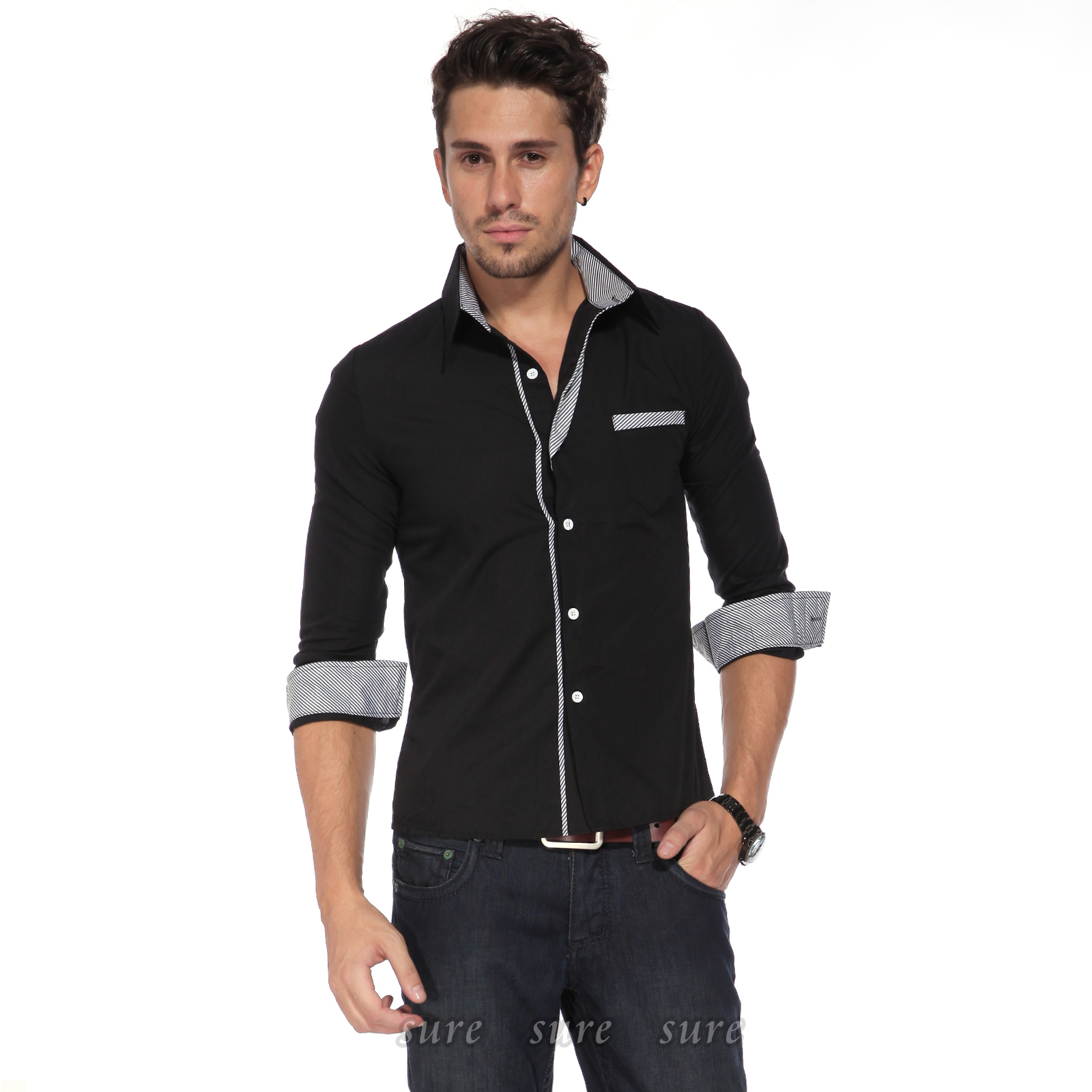 chemise homme slim veste jean costume garcon shirt raye t vetement xs l 4couleur ebay. Black Bedroom Furniture Sets. Home Design Ideas