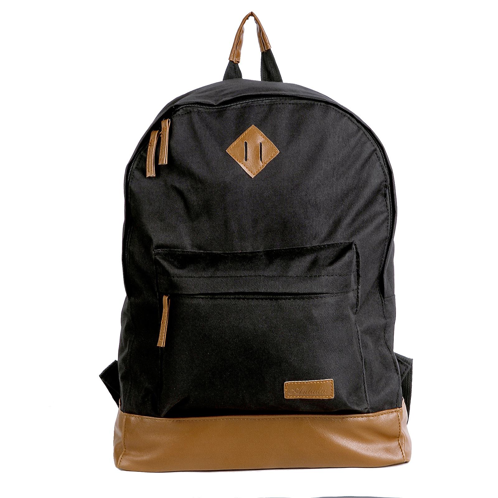 retro canvas backpack satchel rucksack school bag bookbag travel bag ebay. Black Bedroom Furniture Sets. Home Design Ideas