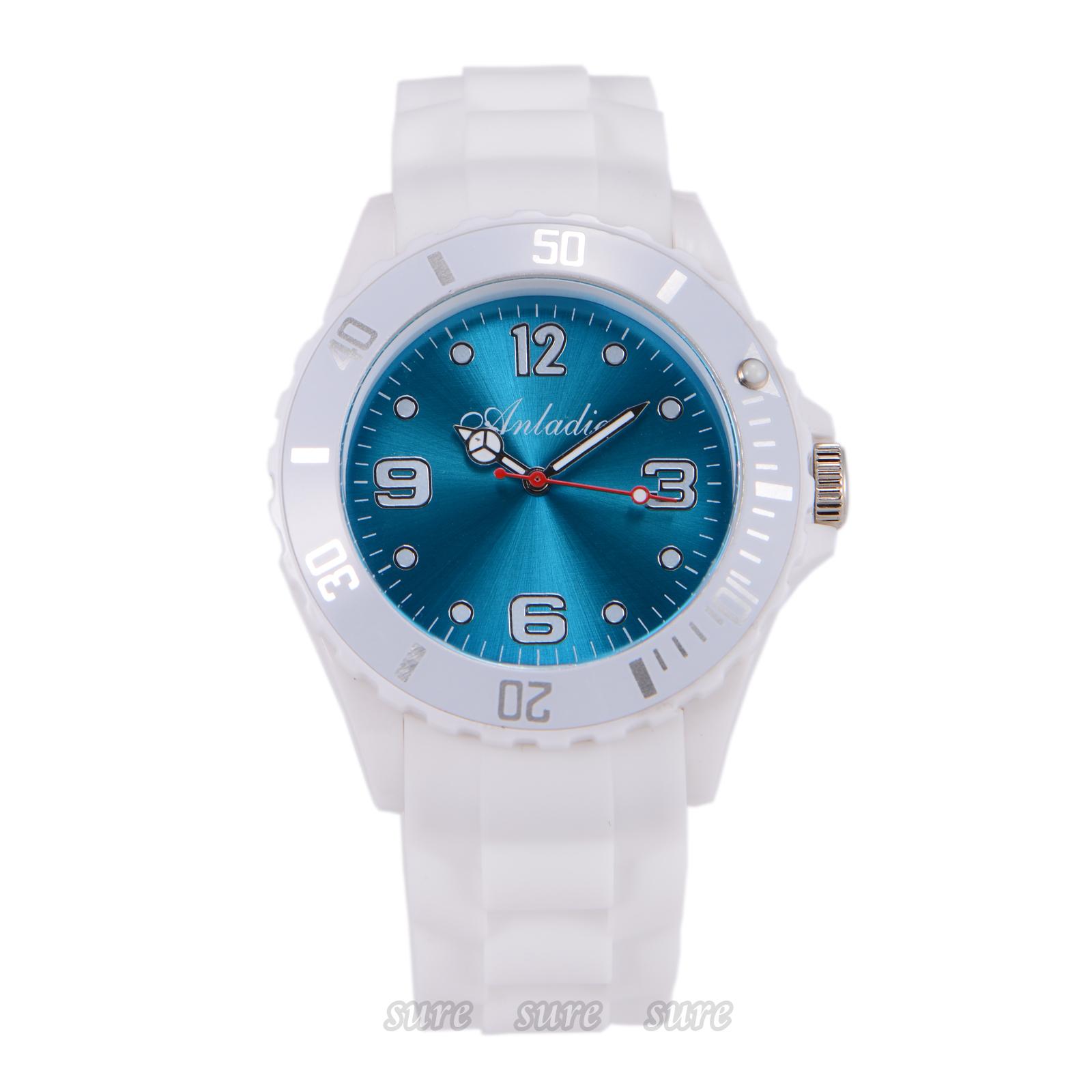 Unisex-Damen-Herren-Bunte-Silikon-Sport-Quarzuhr-Armbanduhr-Watch-Geschenk-Etui