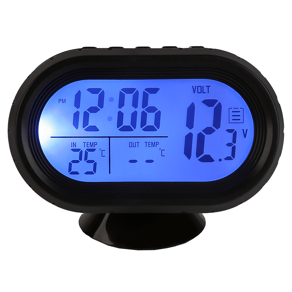 12v digital car voltage monitor battery alarm temperature thermometer clock new ebay. Black Bedroom Furniture Sets. Home Design Ideas