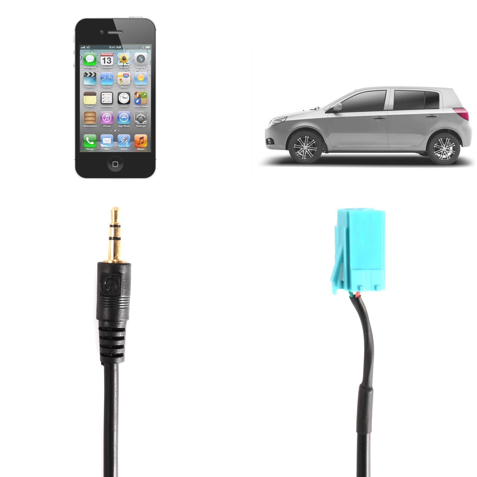 cable auxiliaire aux prise audio autoradio hifi pour renault clio megane ebay. Black Bedroom Furniture Sets. Home Design Ideas