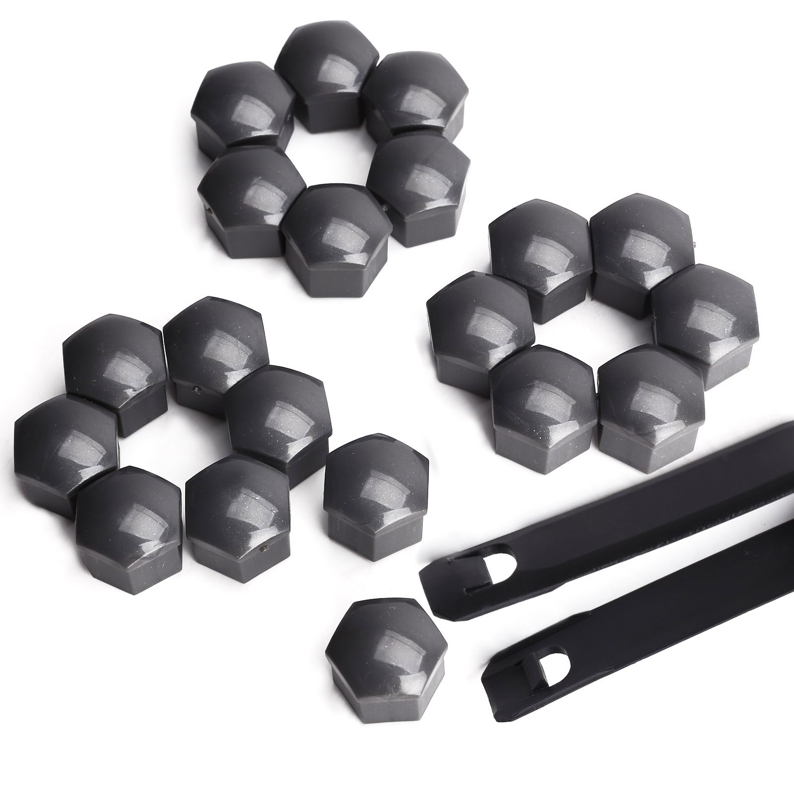 20x hexagonal cache ecrou gris fonce 17mm vis boulon roue vw polo beetle lupo ebay. Black Bedroom Furniture Sets. Home Design Ideas
