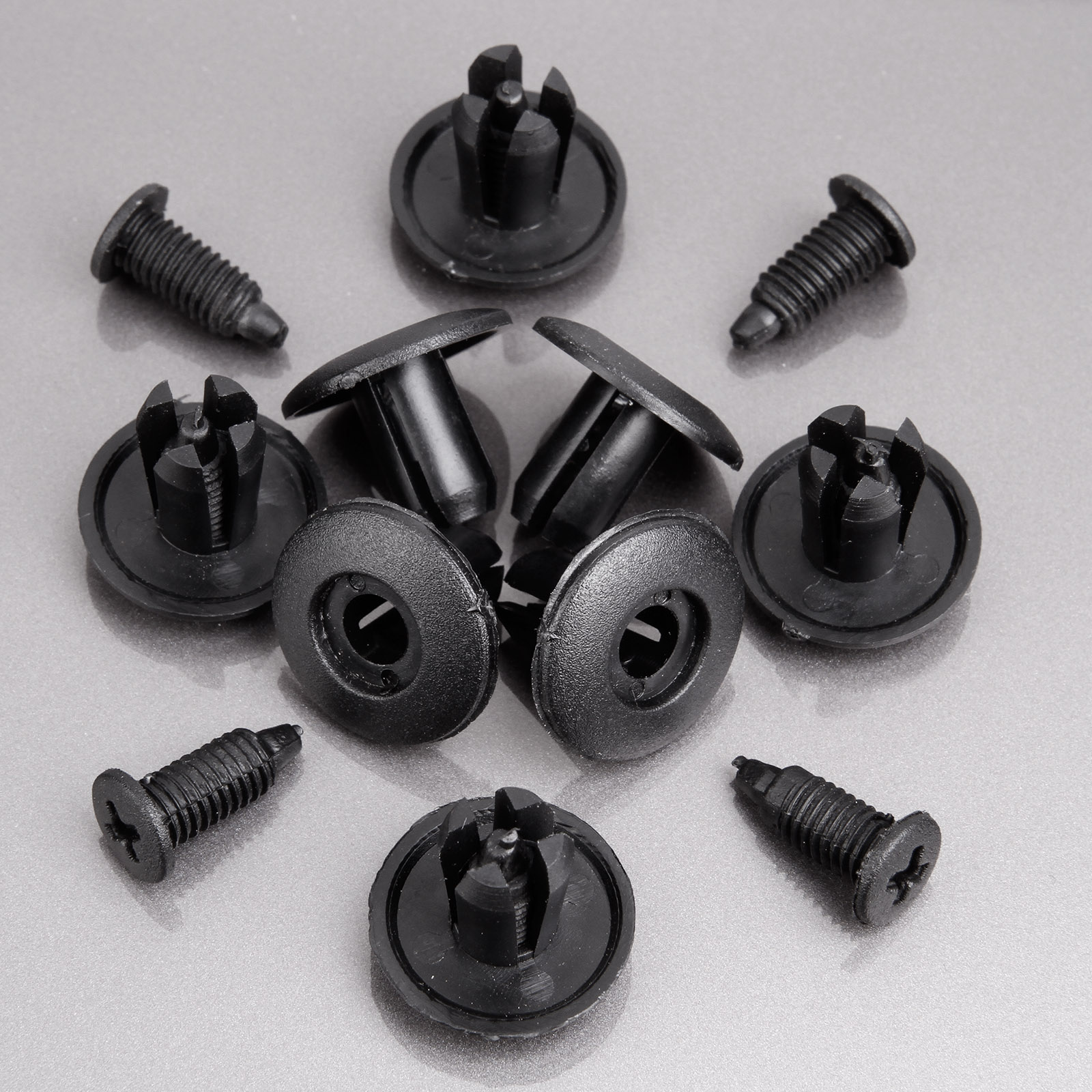 100x auto car interior panel trim clips black plastic rivets for 8mm hole ebay. Black Bedroom Furniture Sets. Home Design Ideas