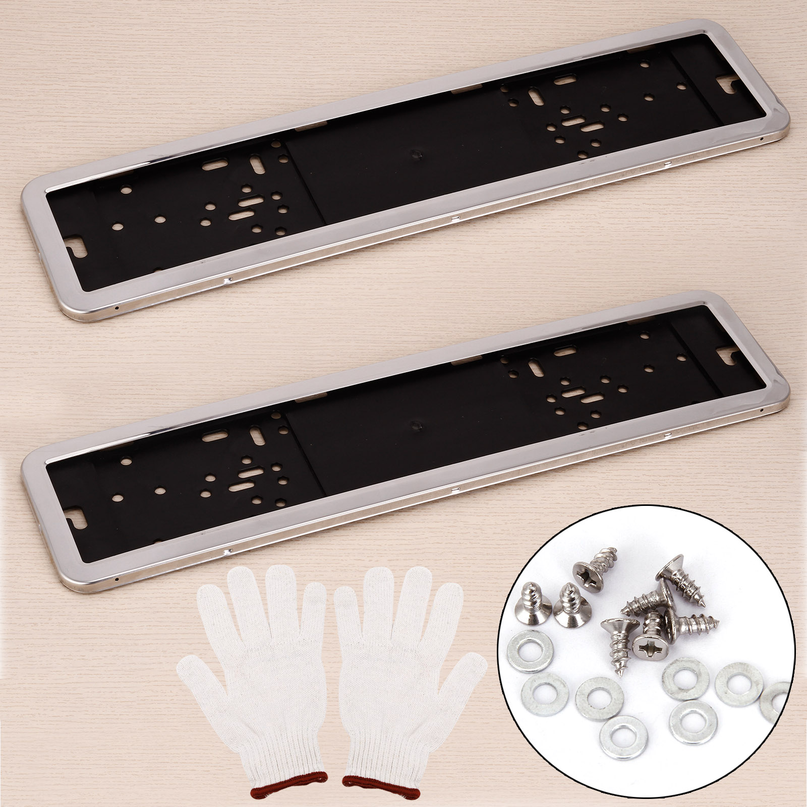 2 x kennzeichenhalter in edelstahl kennzeichenhalterung nummernschildhalter ebay. Black Bedroom Furniture Sets. Home Design Ideas