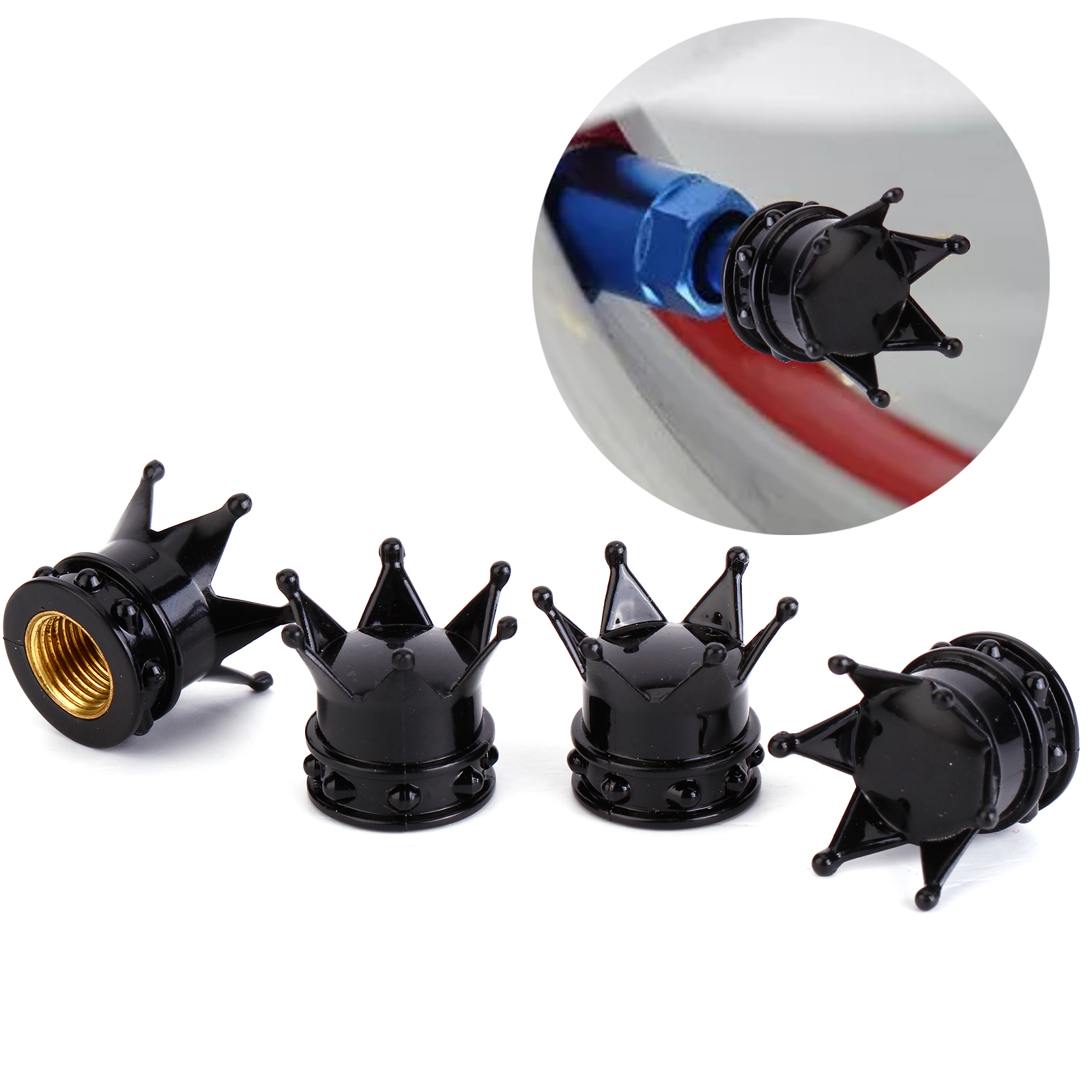 4 pcs bouchon valve d 39 air pneu forme couronne noir v lo moto voiture roue ebay. Black Bedroom Furniture Sets. Home Design Ideas