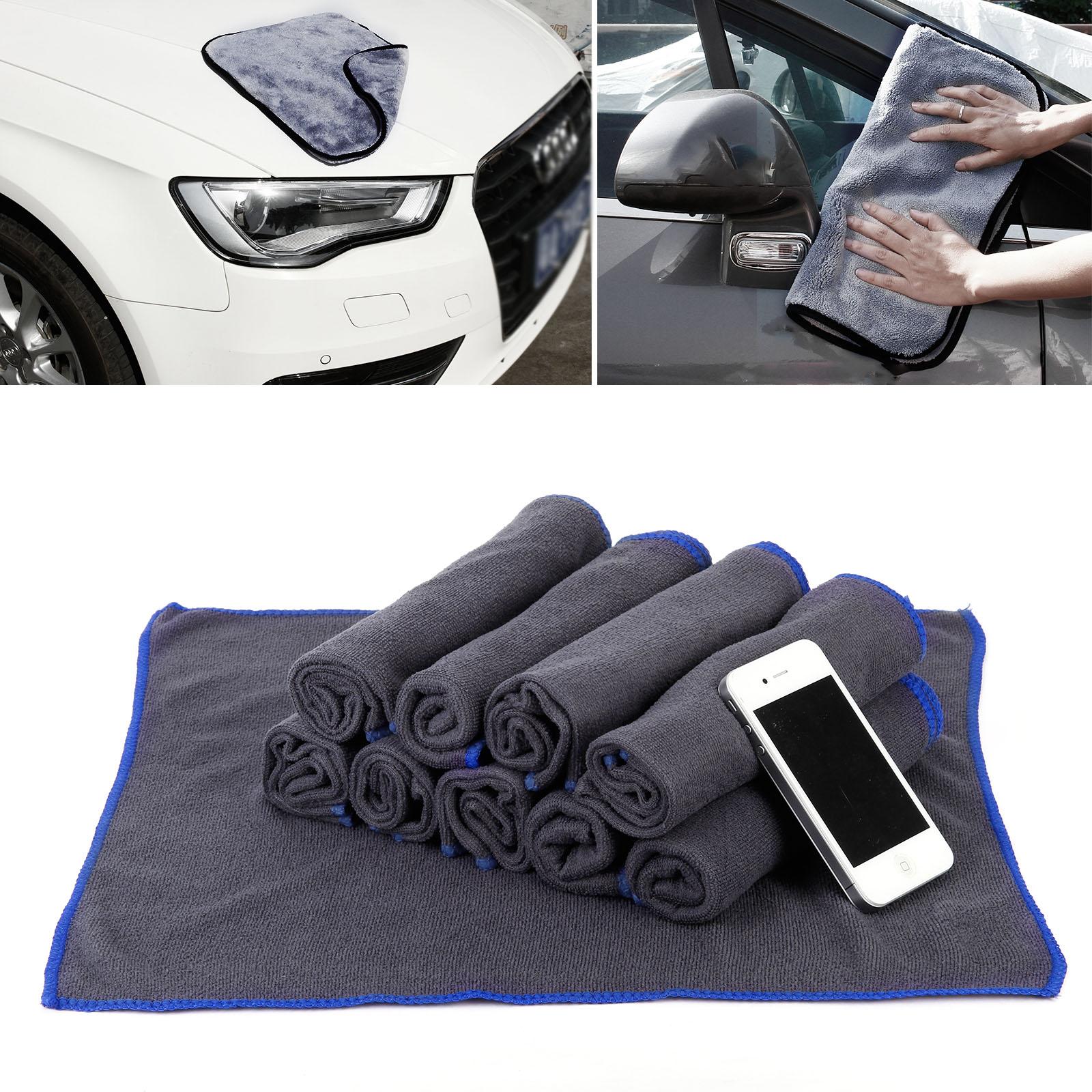 10x serviettes microfibre nettoyage voiture maison nettoyage doux absorbant gris. Black Bedroom Furniture Sets. Home Design Ideas
