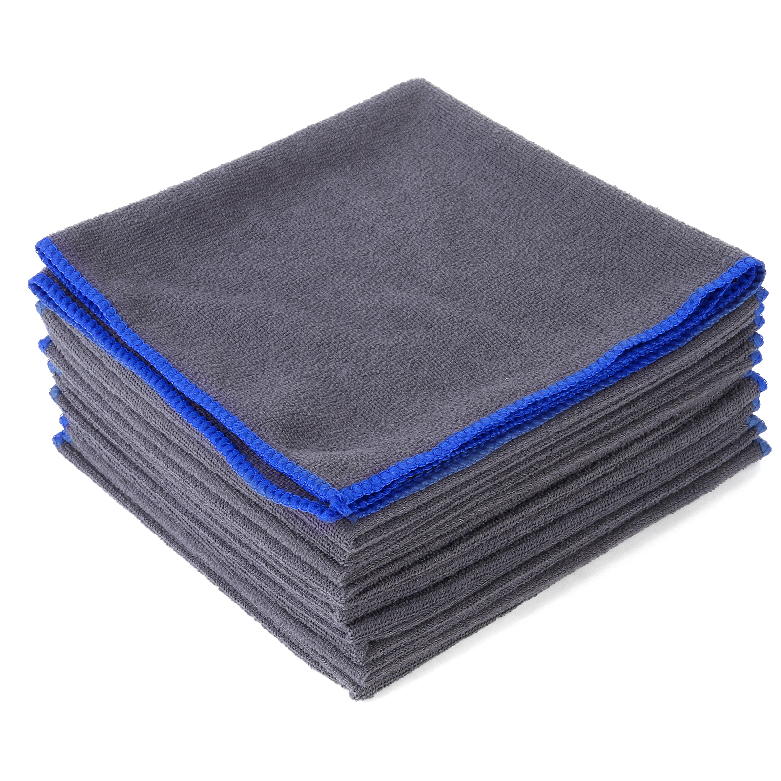 10x serviettes microfibre nettoyage voiture maison nettoyage doux absorbant gris. Black Bedroom Furniture Sets. Home Design Ideas