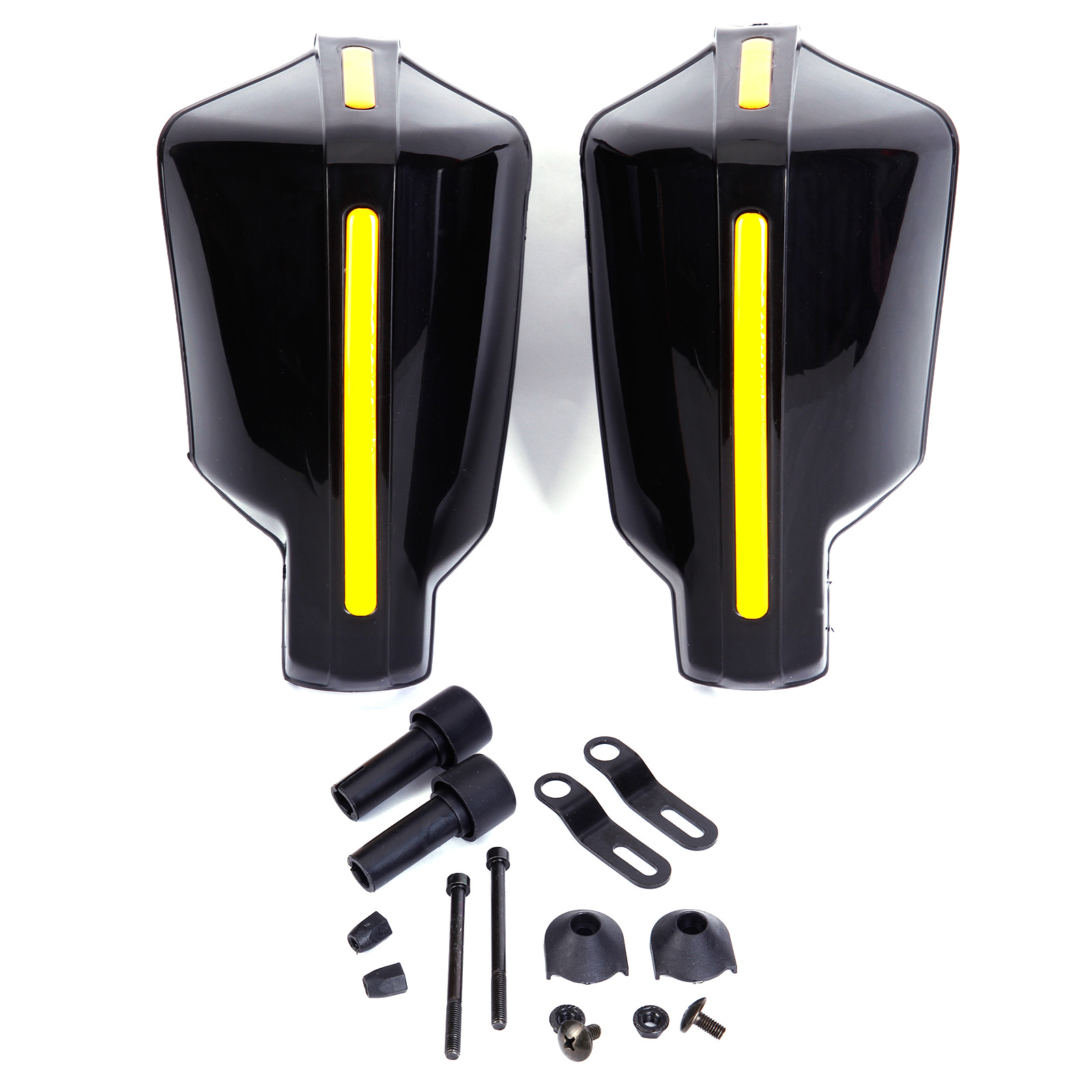 prot ge main noir jaune fixation guidon moto quad cross endur universel ebay. Black Bedroom Furniture Sets. Home Design Ideas