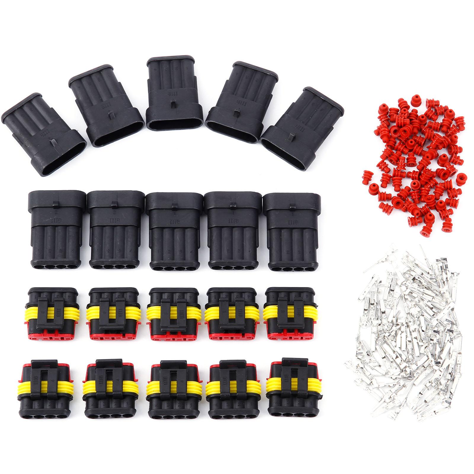 2 3 4 polig superseal set wasserdicht steckverbinder elektrik kfz rot gr n gelb ebay. Black Bedroom Furniture Sets. Home Design Ideas