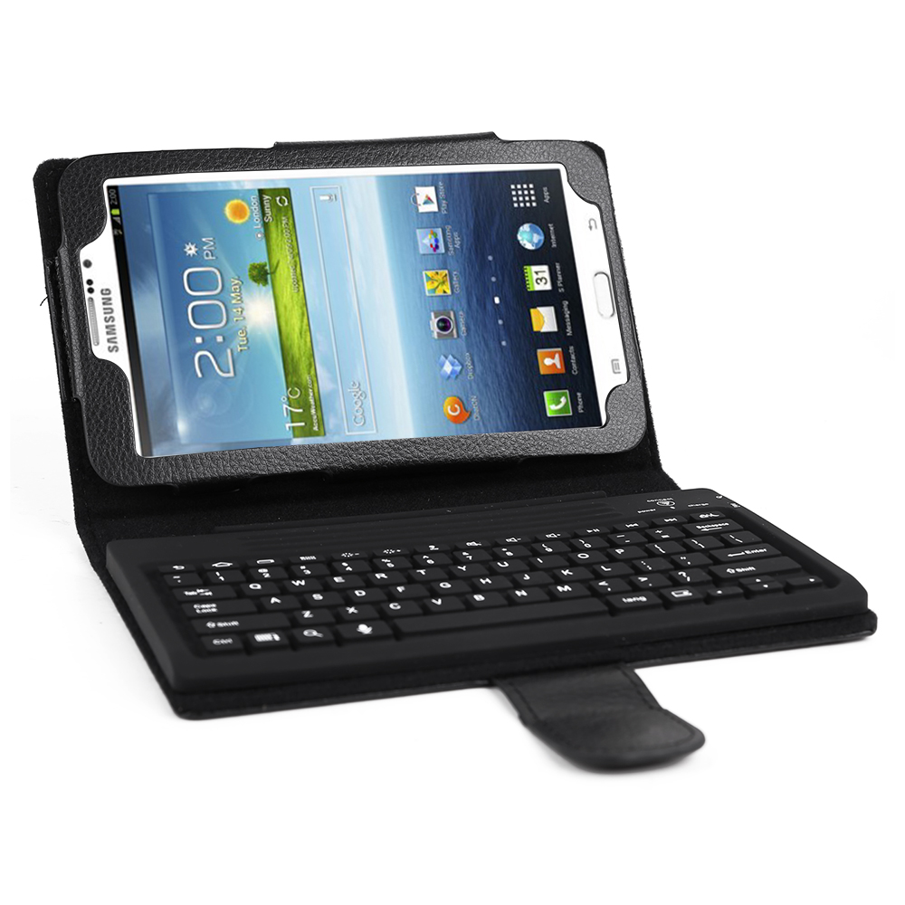 flip case cover stand with keyboard for samsung galaxy tab 3 7 0 tablet ebay. Black Bedroom Furniture Sets. Home Design Ideas