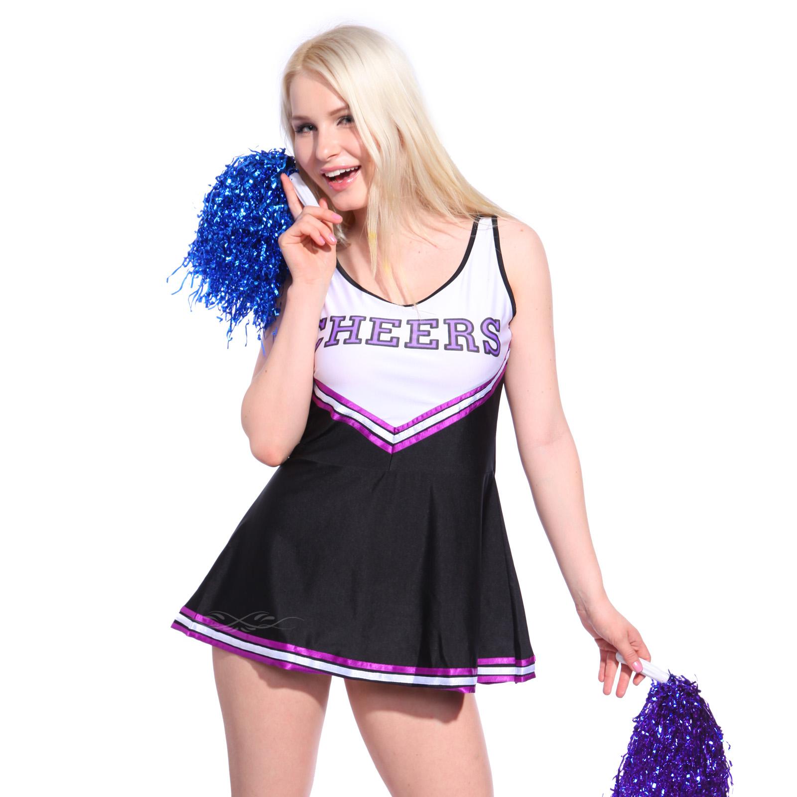 faschingskost m damen cheerleader kost m cheerleading uniform m dchen minirock ebay. Black Bedroom Furniture Sets. Home Design Ideas