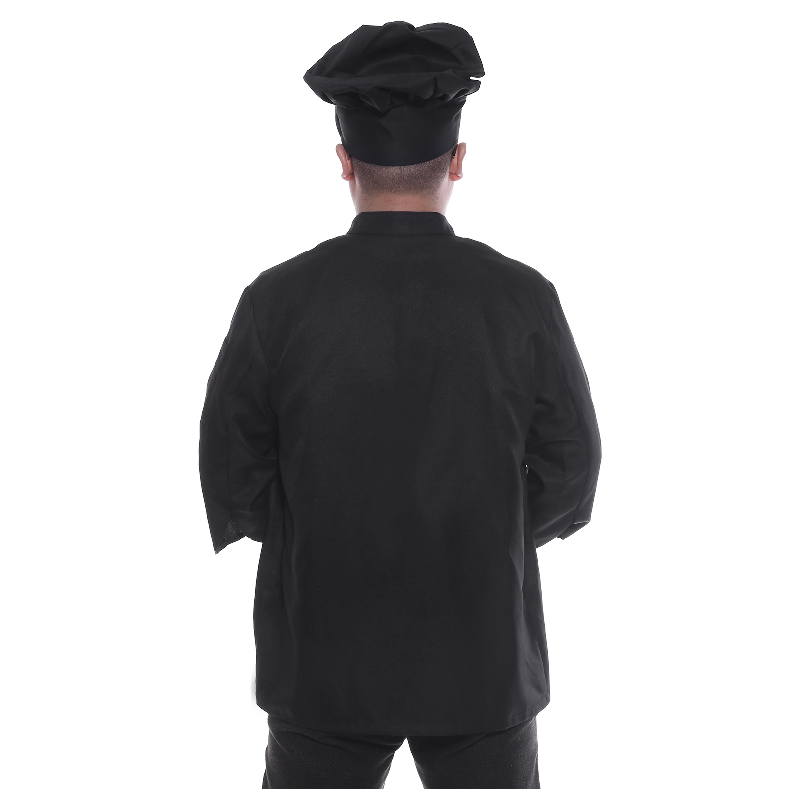 Veste de cuisine noir cuisinier chef pochette buste bras vetement de travail for Cuisinier un bras