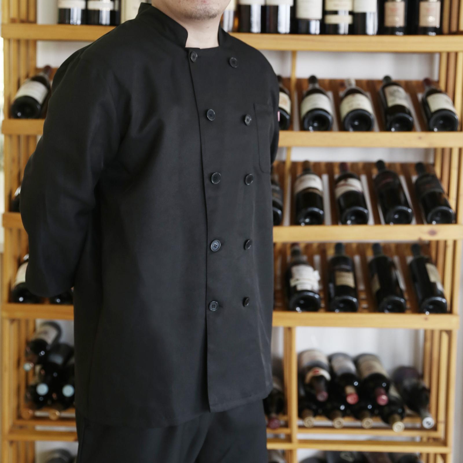 Veste de cuisine noir cuisinier chef pochette buste bras for Cuisinier bras