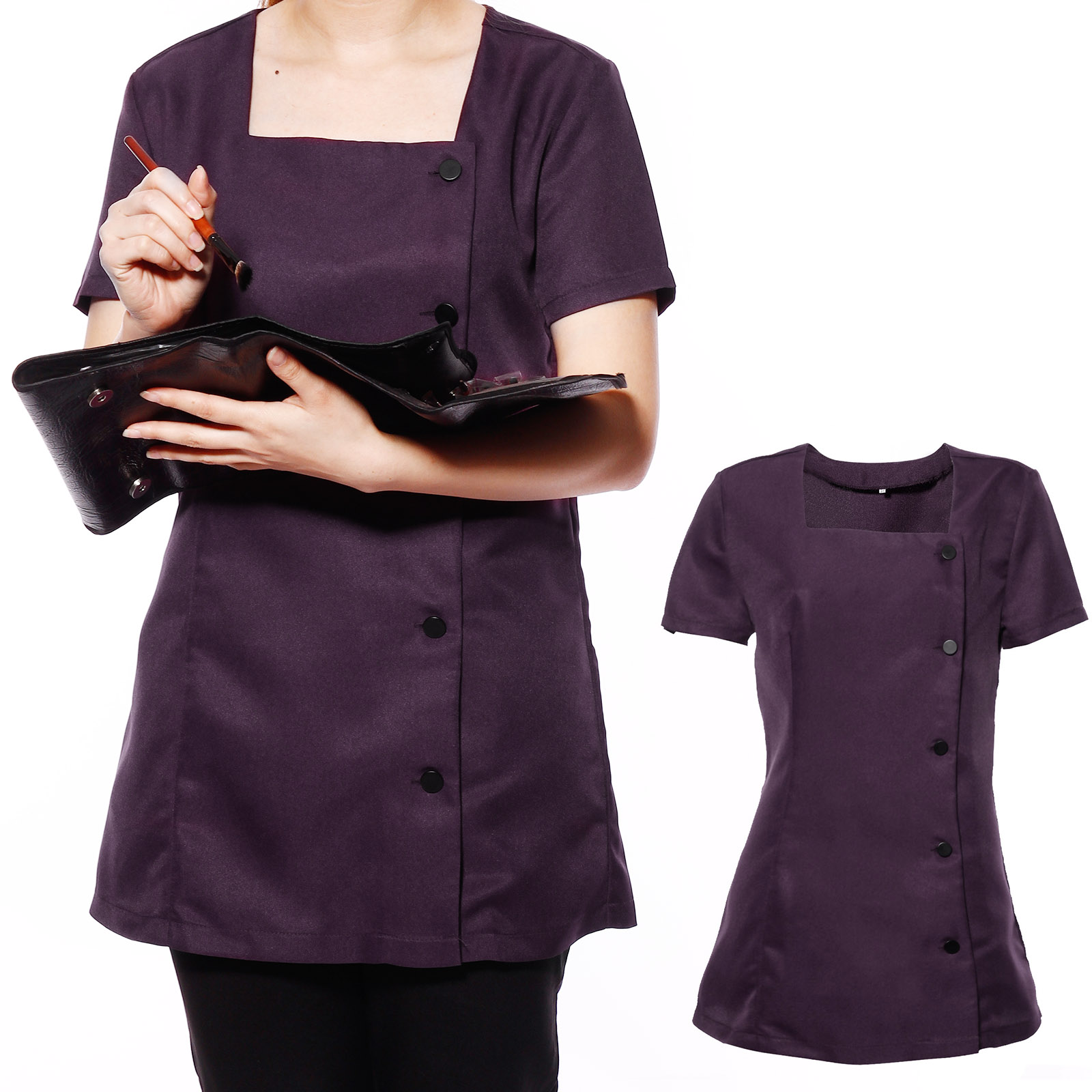 Beauty spa nail salon therapist massage tunic uniform for Uniform nail spa