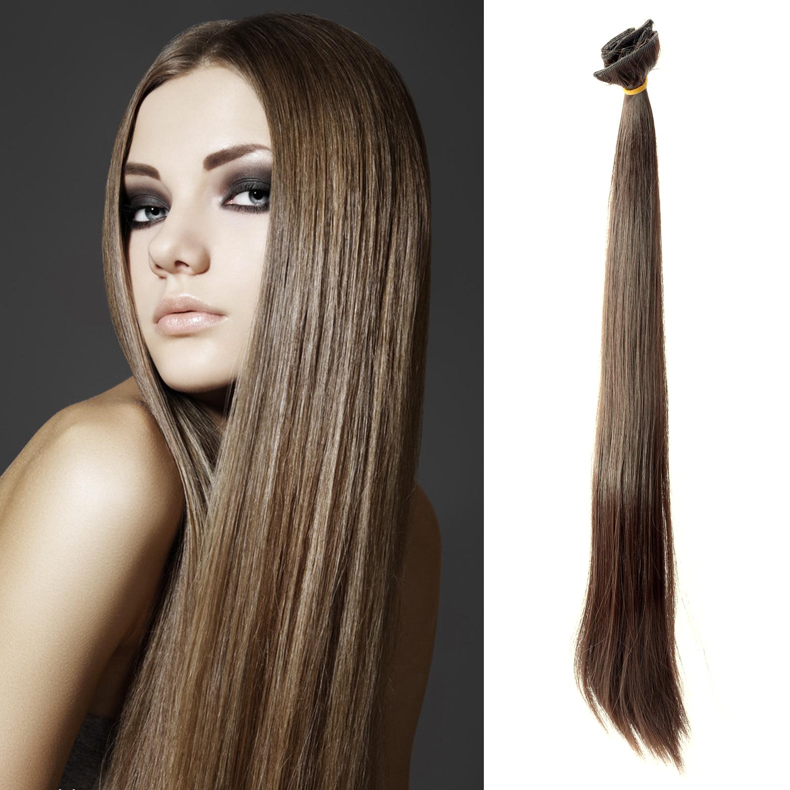 6x meche extension des cheveux a clips raide long perruque rajout hair ebay. Black Bedroom Furniture Sets. Home Design Ideas