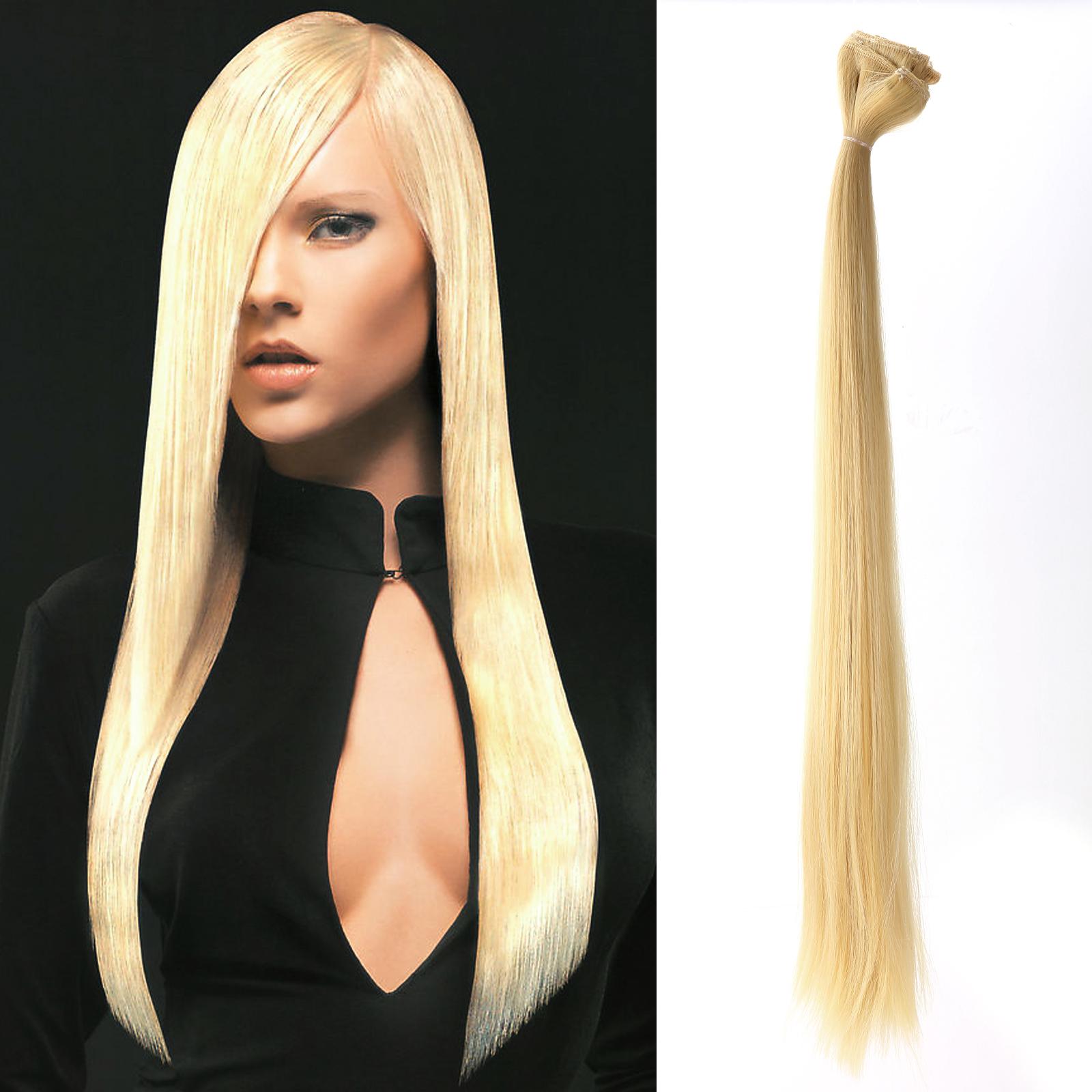 6x meche extension des cheveux a clips raide long perruque rajout hair. Black Bedroom Furniture Sets. Home Design Ideas