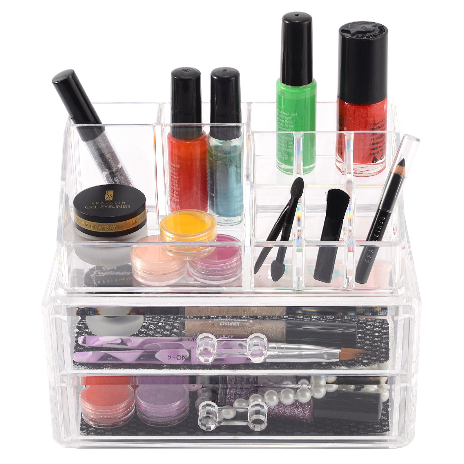 clear acrylic makeup drawer cosmetic organizer lipstick brush holder box case ebay. Black Bedroom Furniture Sets. Home Design Ideas