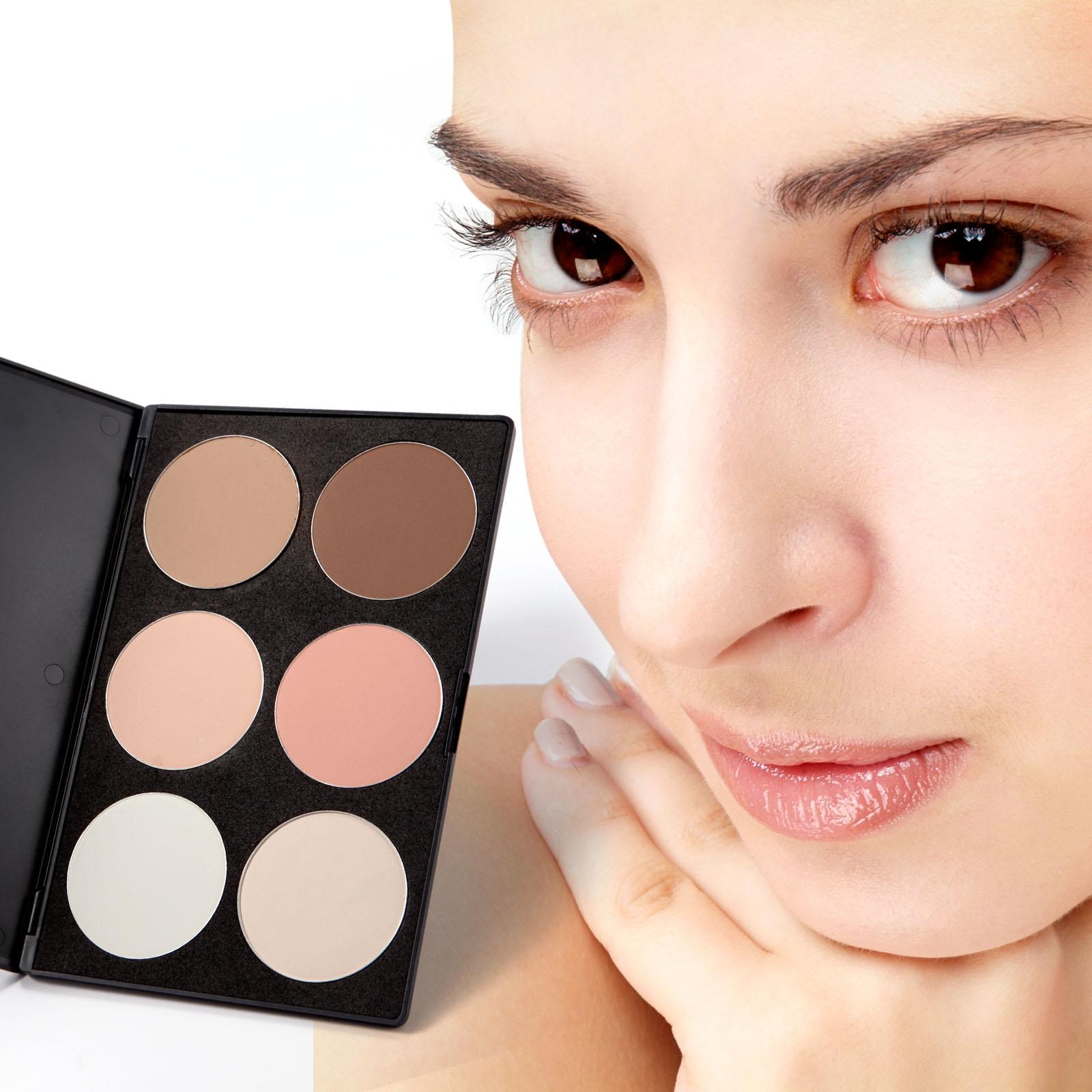6 nude farben highlighting puder teint blush make up palette ebay. Black Bedroom Furniture Sets. Home Design Ideas