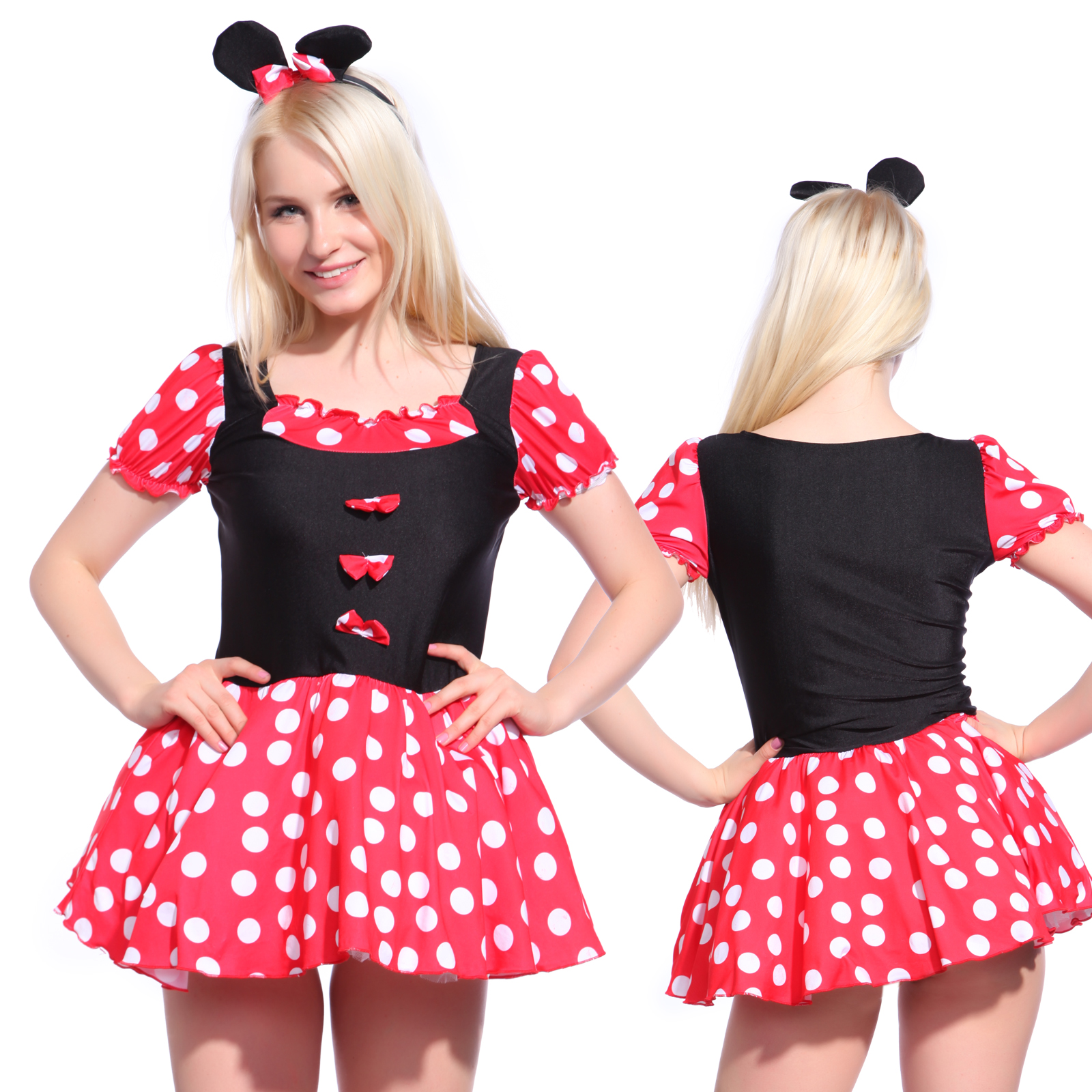 damenkost m minnie mouse prinzessin maid damen kost m verkleidung f r fasching ebay. Black Bedroom Furniture Sets. Home Design Ideas