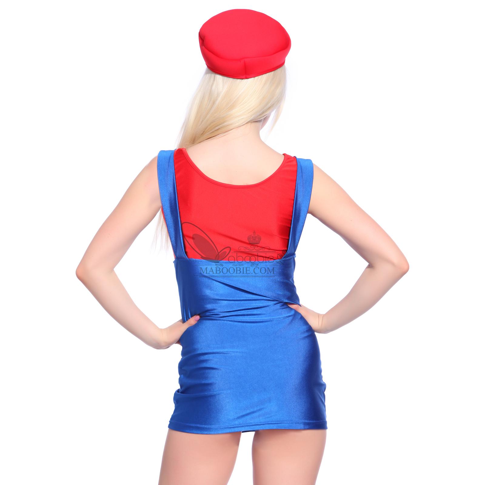 deguisement costume super mario luigi femme plombier jeux rouge vert s m l ebay. Black Bedroom Furniture Sets. Home Design Ideas