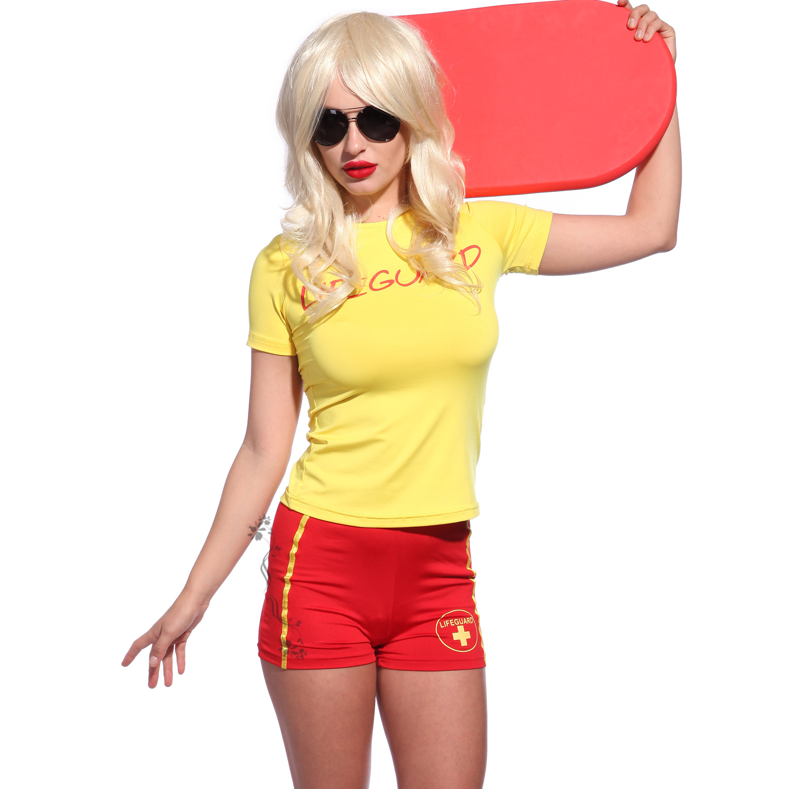 LIFEGUARD Ladies Yellow T-Shirt U0026 Red Shorts Fancy Dress Costume Outfit Set | EBay