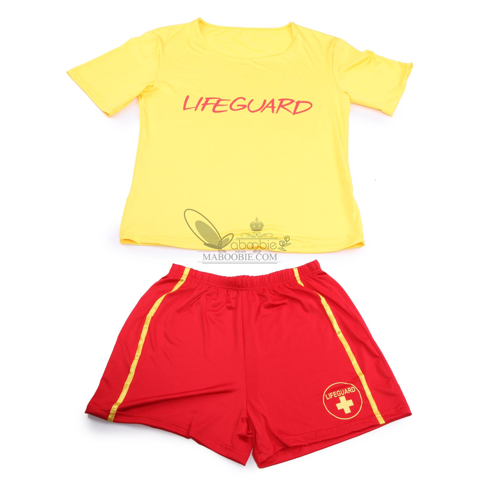 baywatch lifeguard damen kost m shorts t shirt sport lebensretter damenkost m ebay. Black Bedroom Furniture Sets. Home Design Ideas