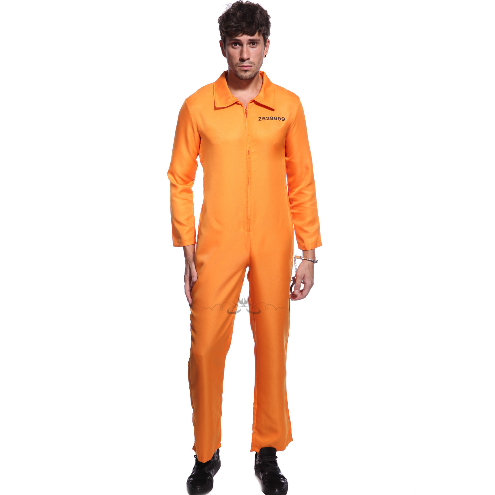 Mens Womens Convict Costume Jail Jumpsuit Orange Prisoner Black ...