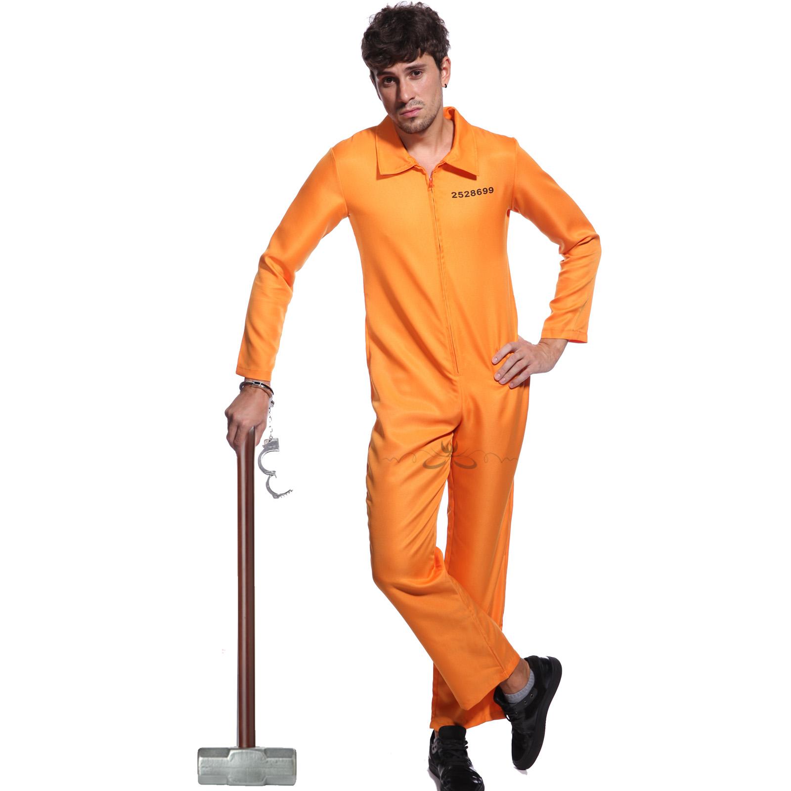 Orange Criminal Jumpsuit Boiler Suit Convict Fancy Dress Costume   ...