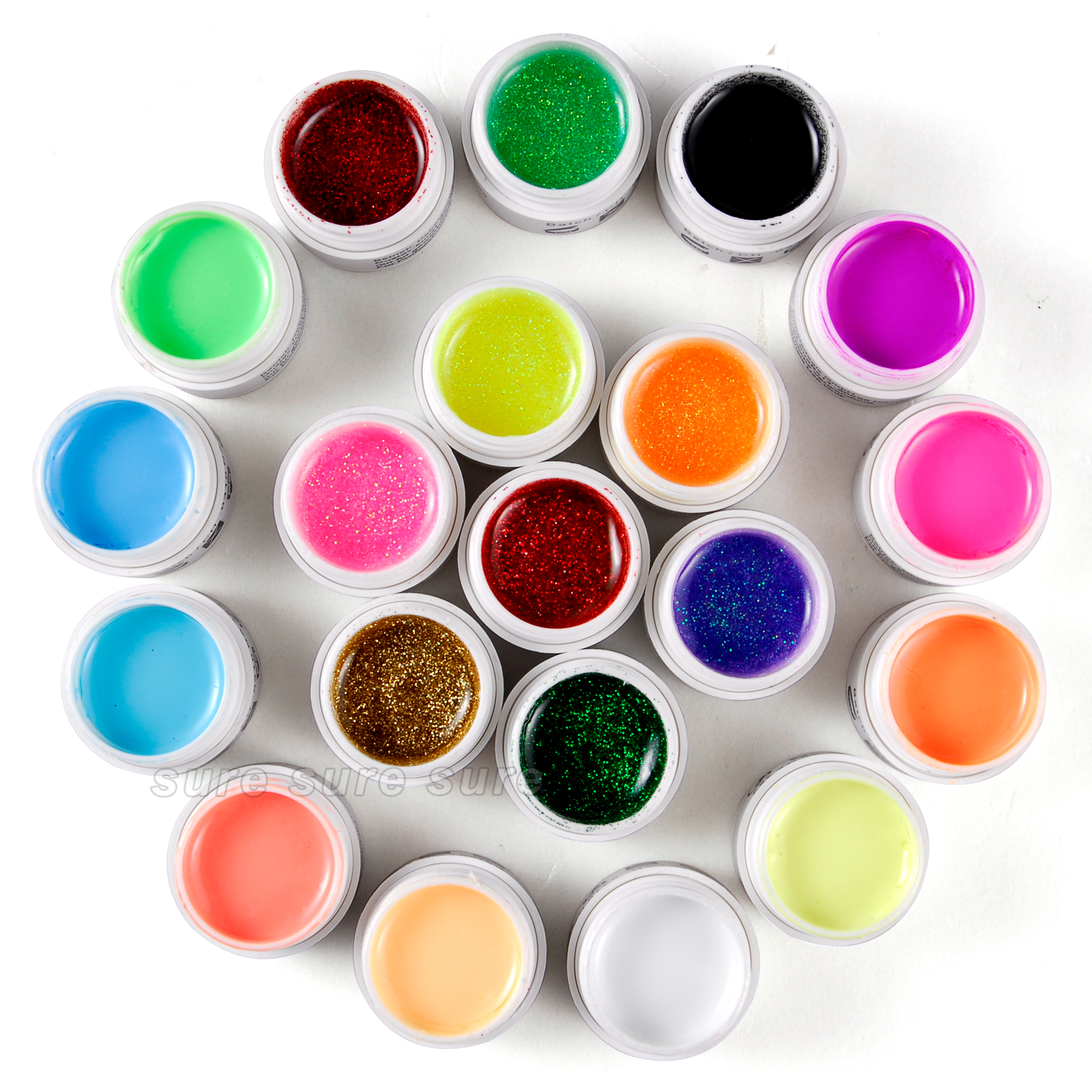 Lot 20 pot gel uv ongles faux milkshake paillette 16x - Peinture violet paillete ...