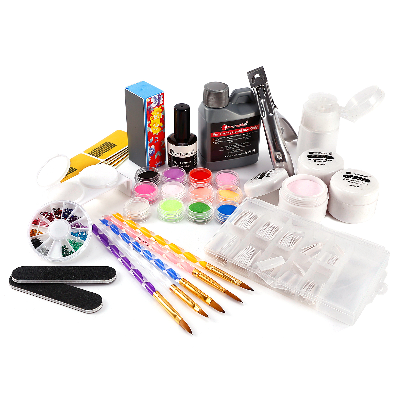 acryl starter set uv set pulver liquid nageltips stra stein glitter pinsel feile ebay. Black Bedroom Furniture Sets. Home Design Ideas