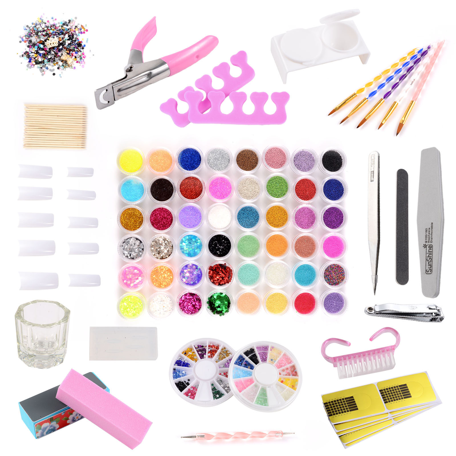 48tlg acryl starter set nageltips stra stein glitter pinsel feile schablonen ebay. Black Bedroom Furniture Sets. Home Design Ideas