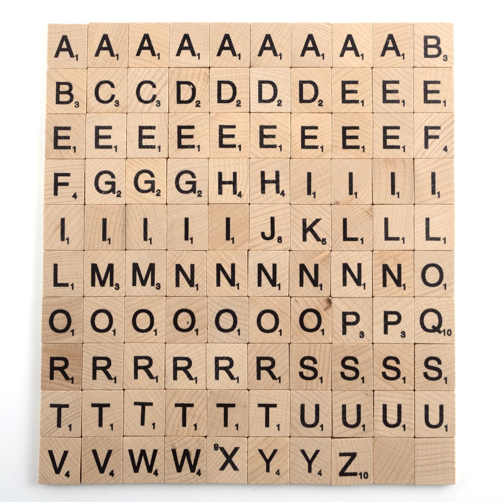 100x lettre scrabble bois pi ces rechange pochette - Lettre scrabble bois ...