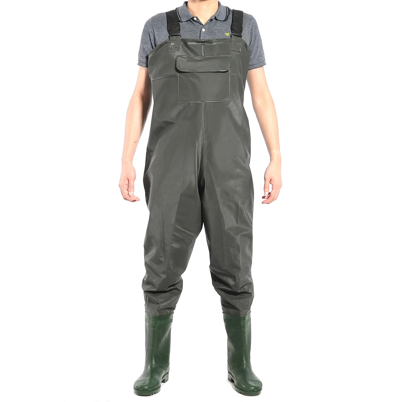 Green pvc chest waders 100 waterproof fly coarse fishing for Fly fishing waders