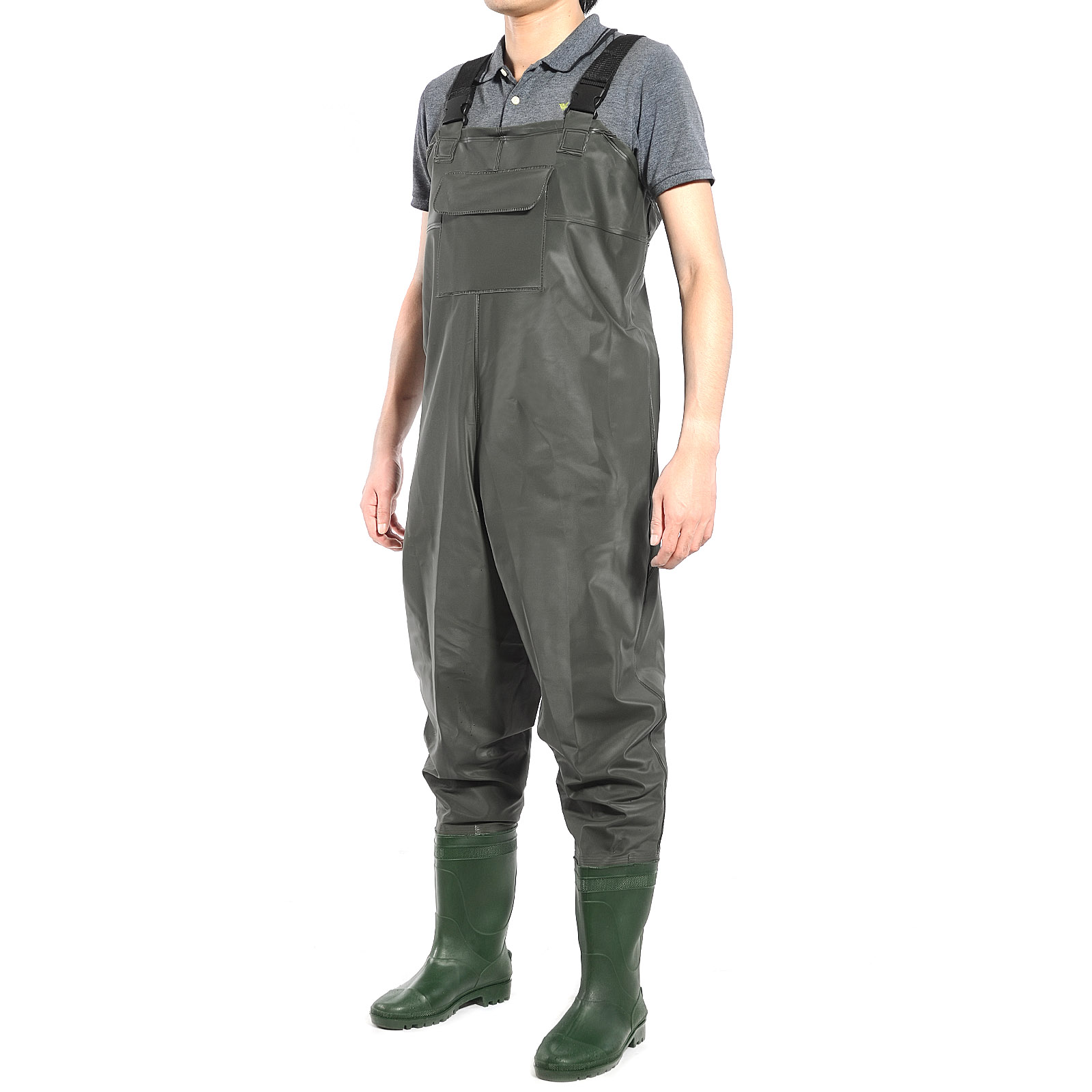 Pvc waterproof chest waders carp fly coarse fishing green for Fly fishing waders