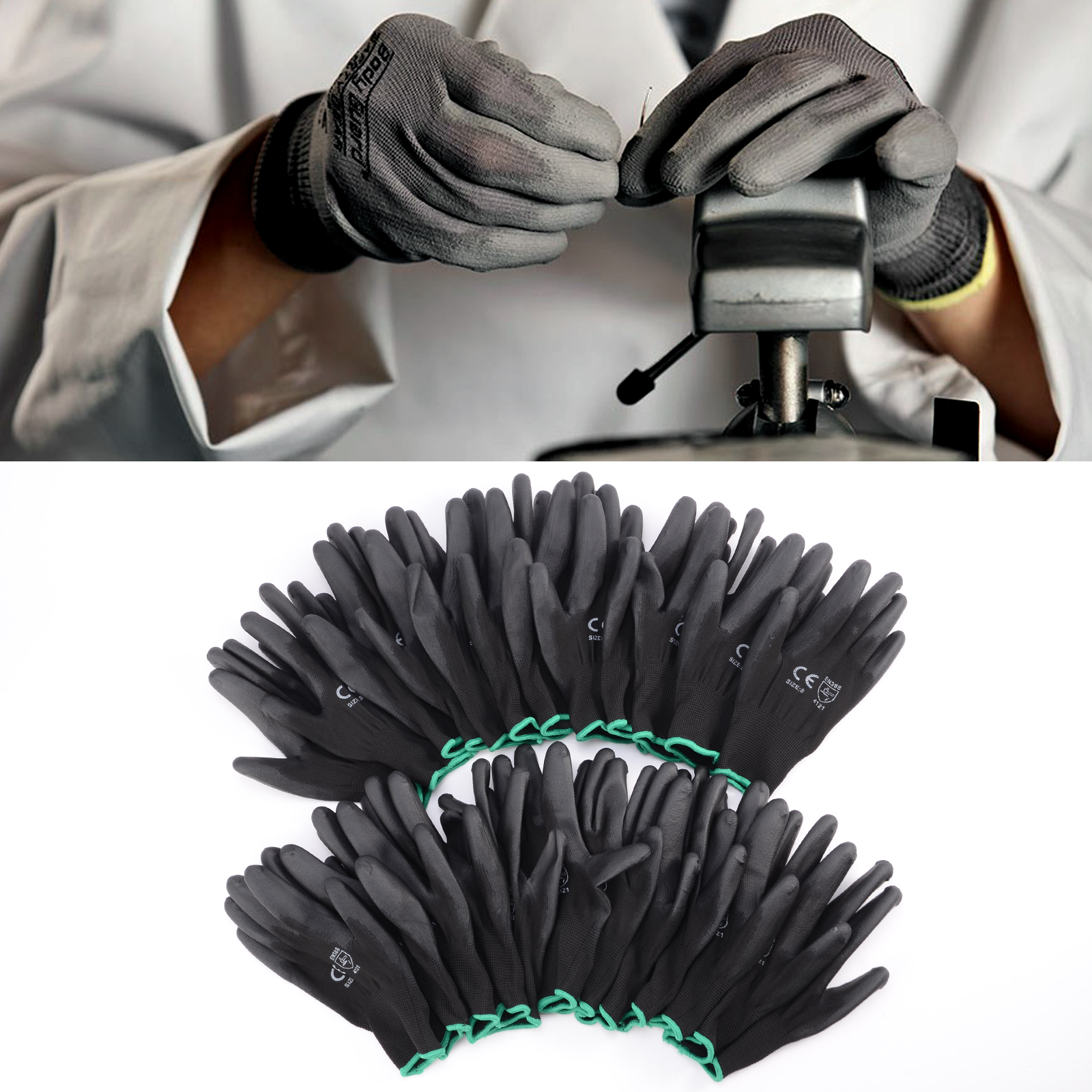 Ebay uk leather work gloves - 12 Pairs Black Nylon Pu Safety Work Gloves Builders Grip Palm Coating Gloves